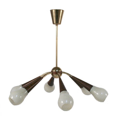 #805 Brass and Glass Chandelier
