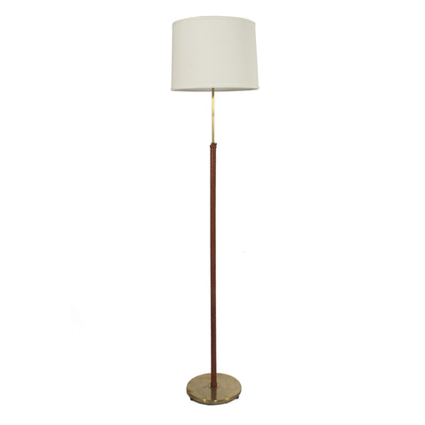 #825 Brass and Leather Floor Lamp