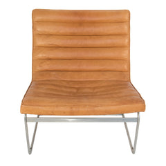 #956 Lounge Chair in leather and chrome,