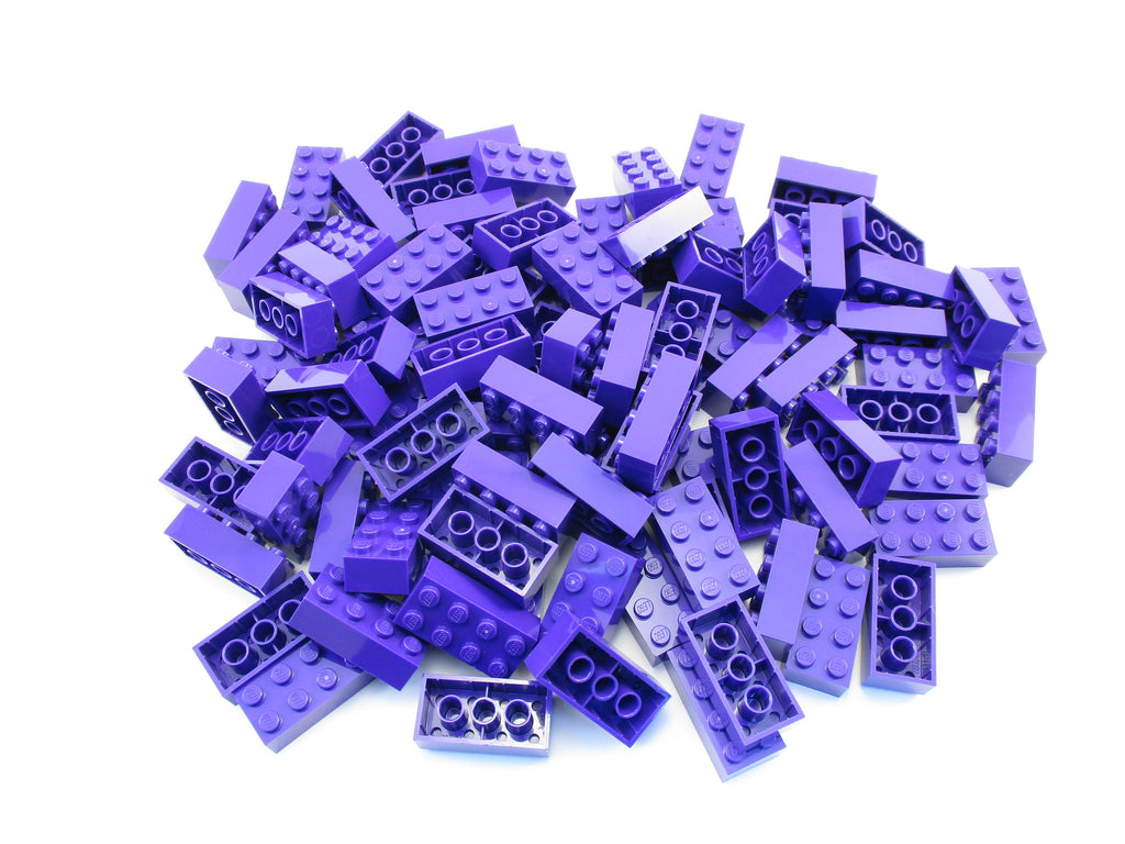 LEGO Dark Purple Brick 2x4 Lot of 100 Parts Pieces 3001