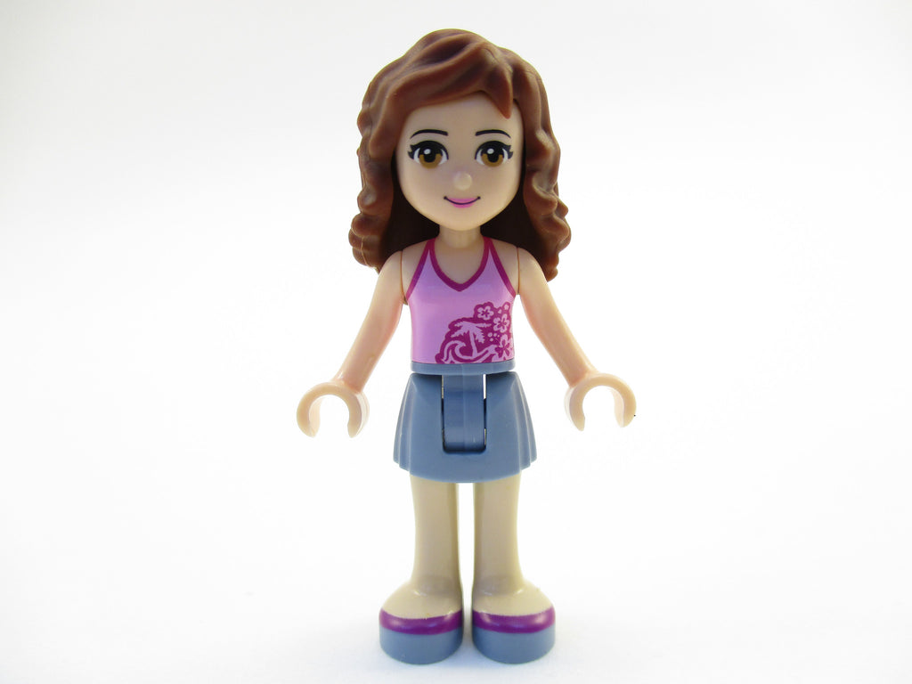 LEGO Friends Olivia Girl Minifigure 41030 Mini Fig Sand Blue Skirt Pink Top