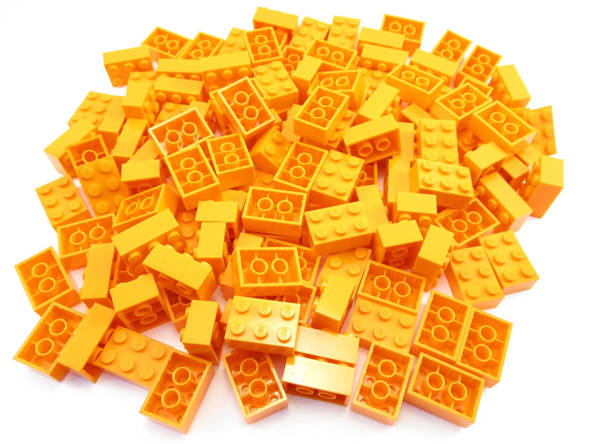 LEGO Orange Brick 2x3 Lot of 100 Parts Pieces 3002