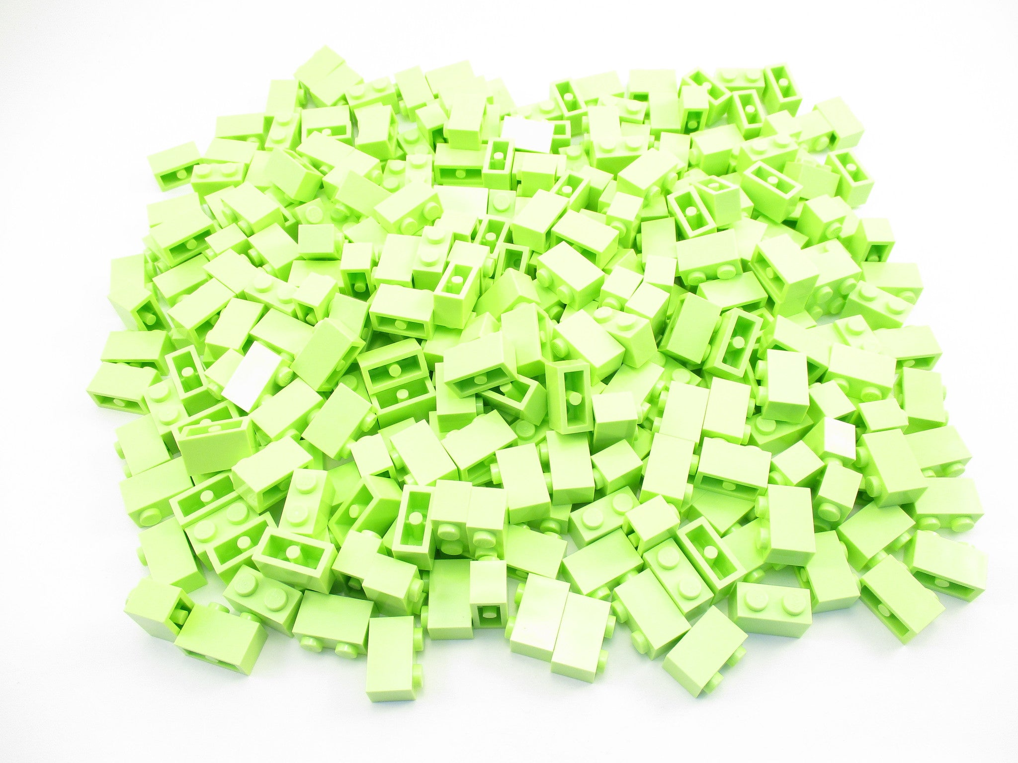 LEGO Yellowish Green Brick 1x2 Lot of 100 Parts Pieces 3004