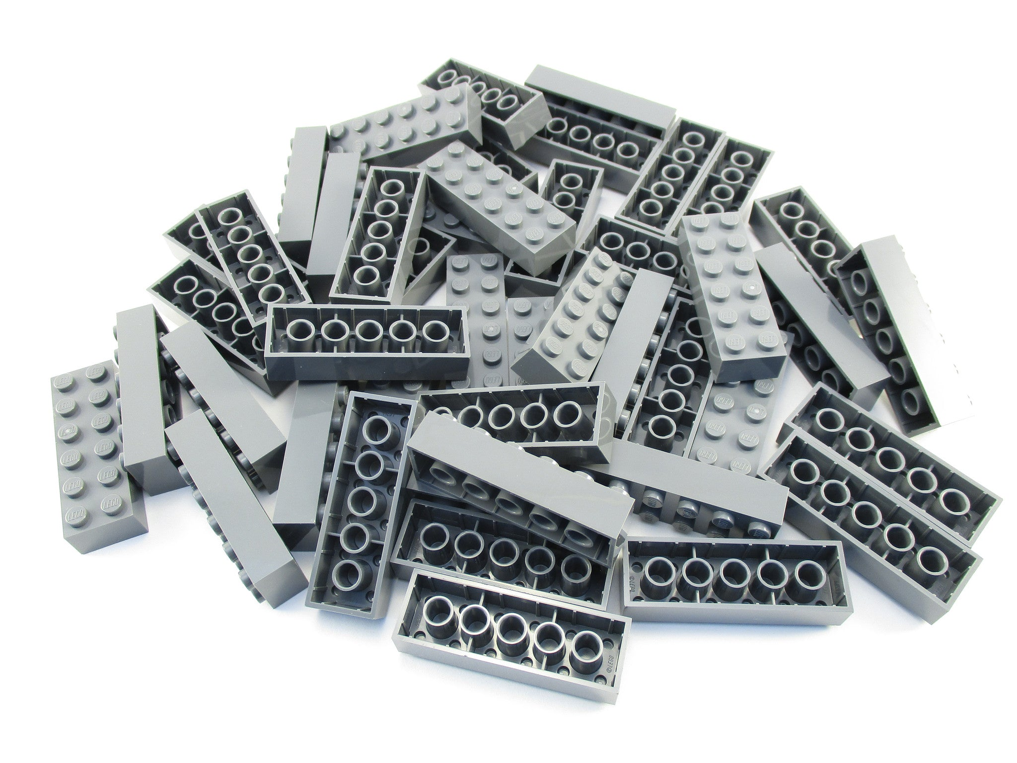 LEGO Dark Bluish Grey Brick 2x6 Lot of 50 Parts Pieces 2456 Gray