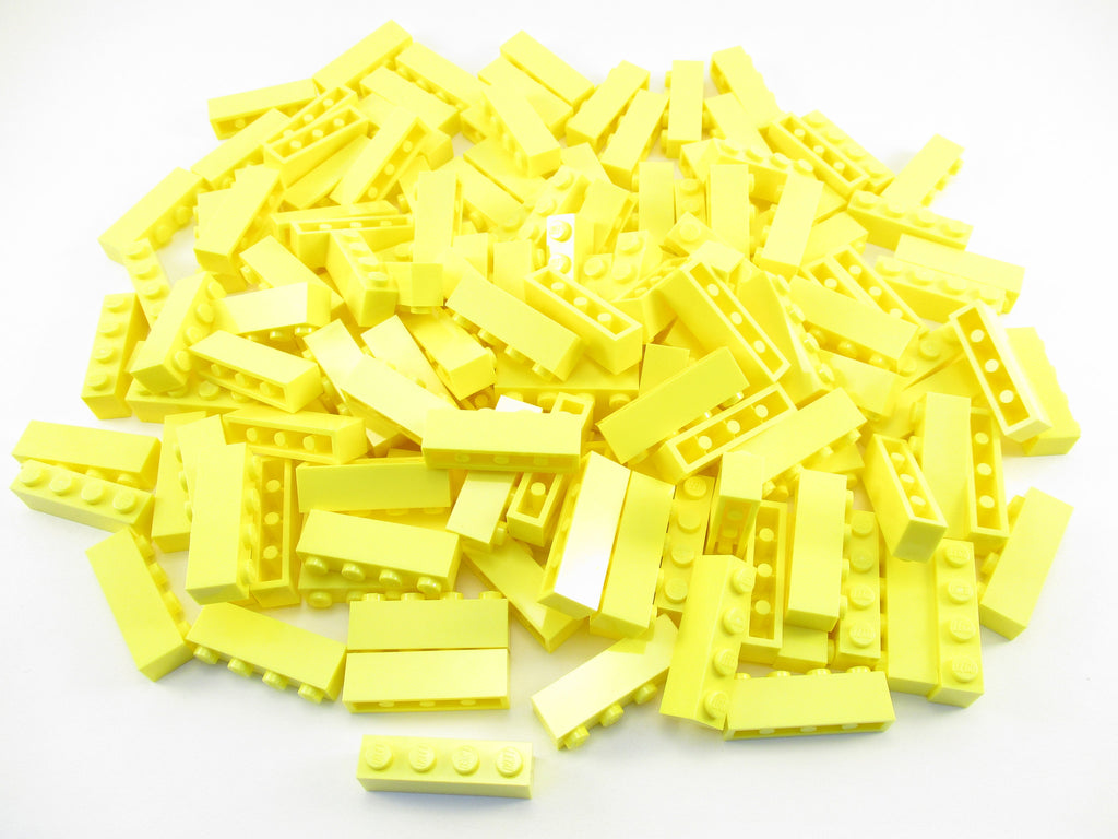 LEGO Bright Light Yellow Brick 1x4 Lot of 100 Parts Pieces 3010
