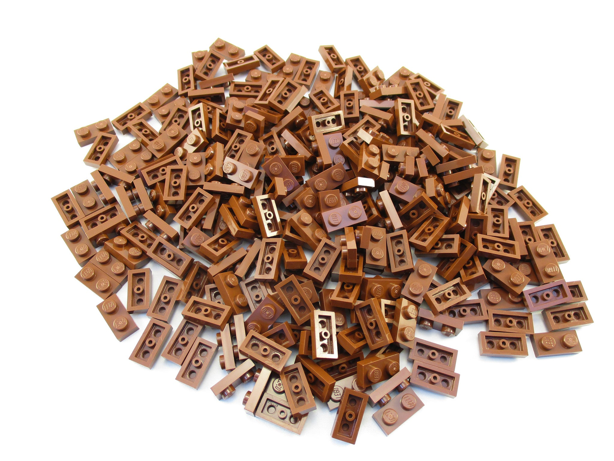 LEGO Reddish Brown Plate 1x2 Lot of 100 Parts Pieces 3023