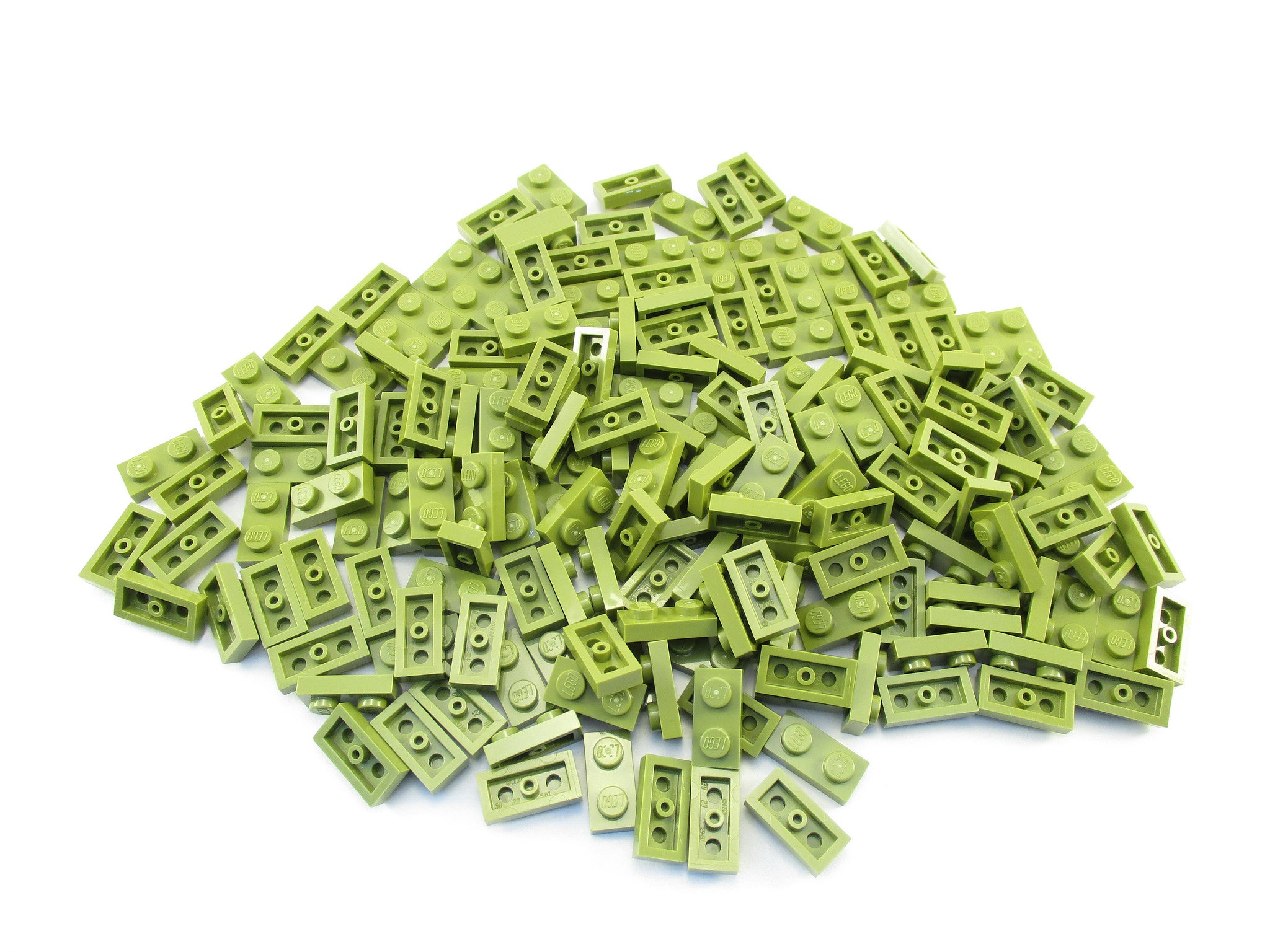 LEGO Olive Green Plate 1x2 Lot of 100 Parts Pieces 3023