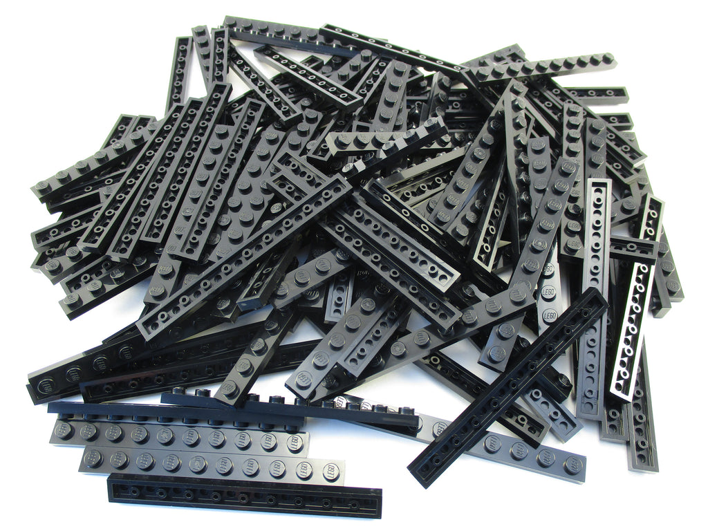 LEGO Black Plate 1x10 Lot of 50 Parts Pieces 4477