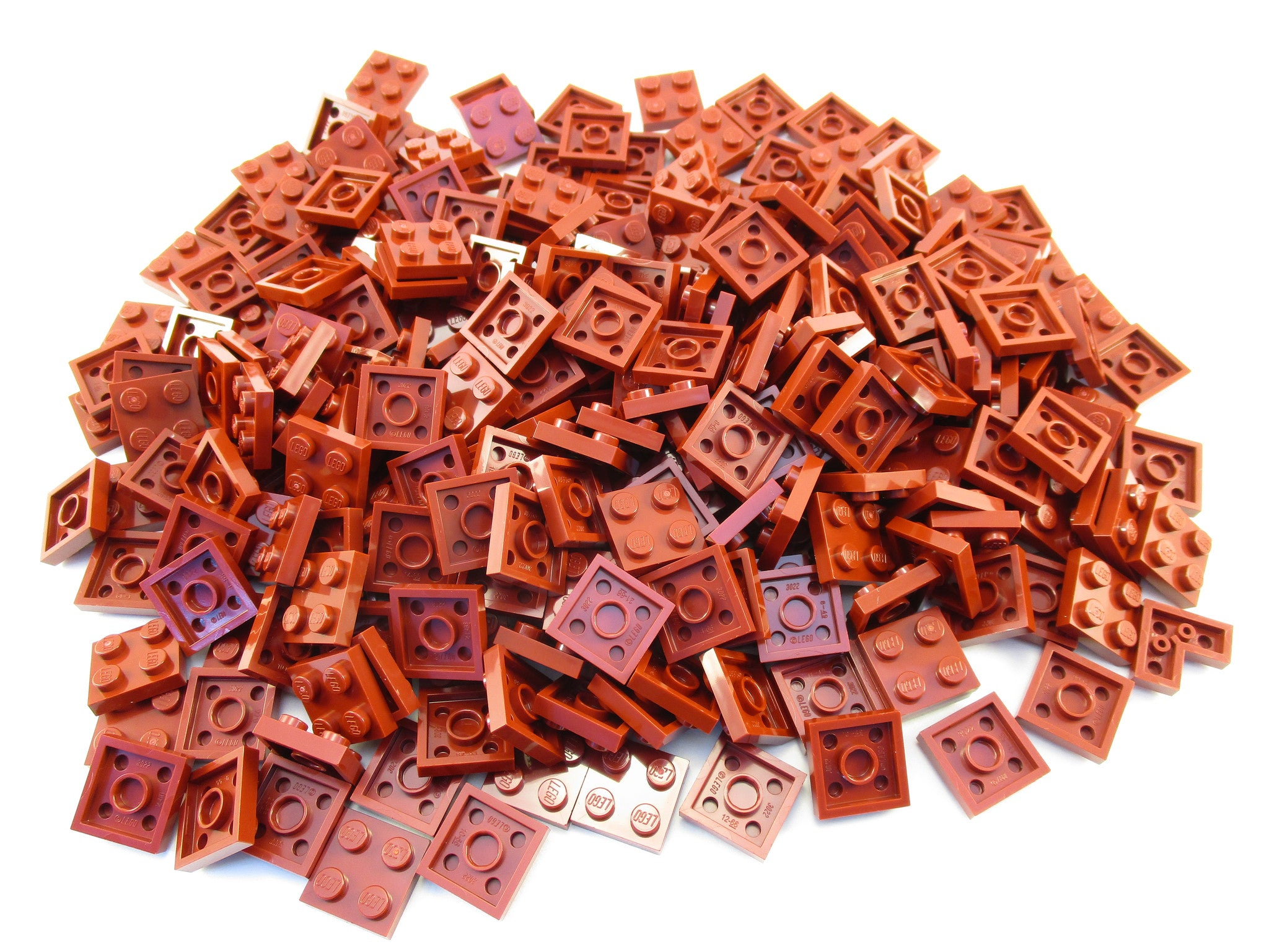 LEGO Dark Red Plate 2x2 Lot of 100 Parts Pieces 3022
