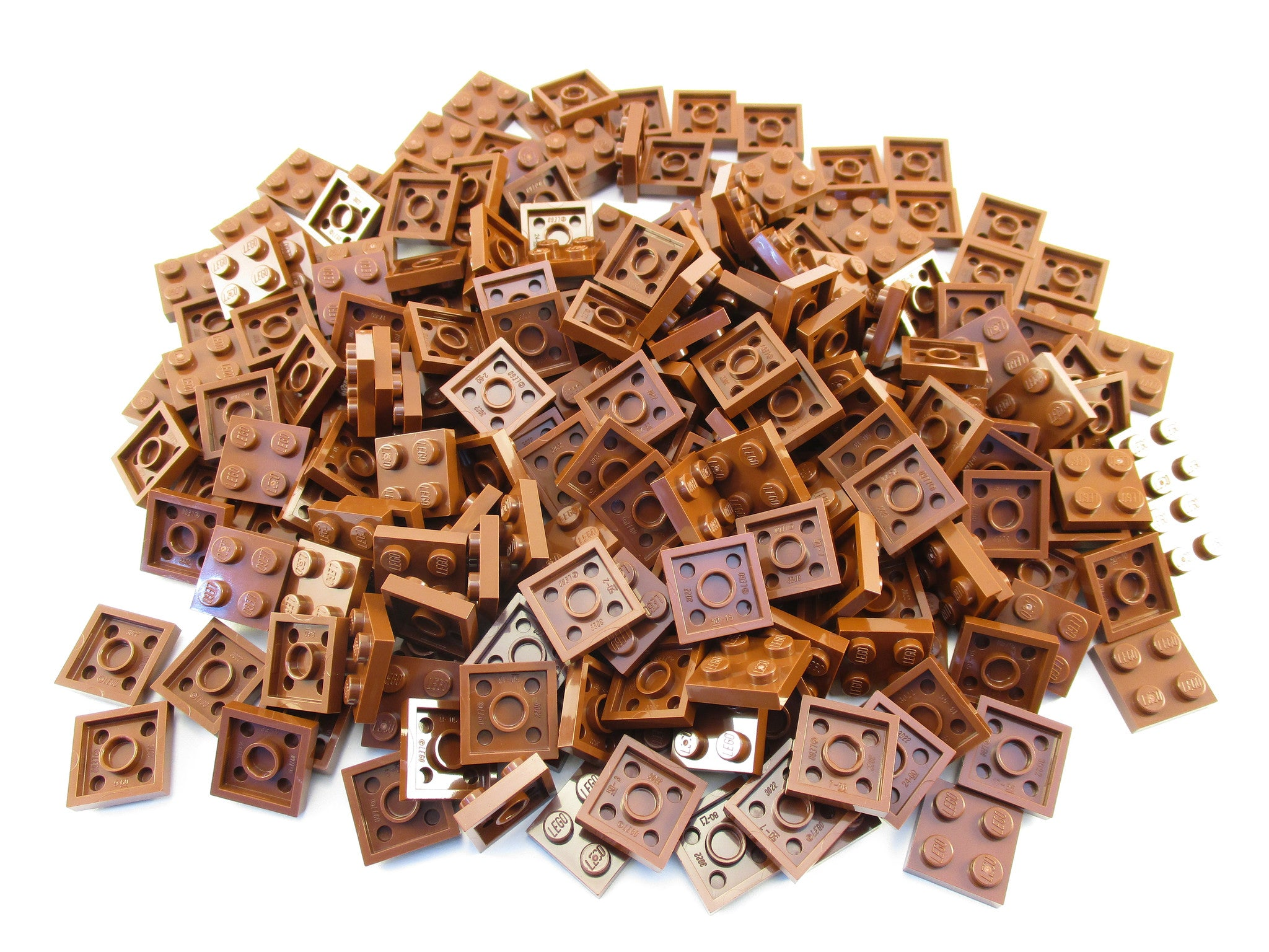 LEGO Reddish Brown Plate 2x2 Lot of 100 Parts Pieces 3022
