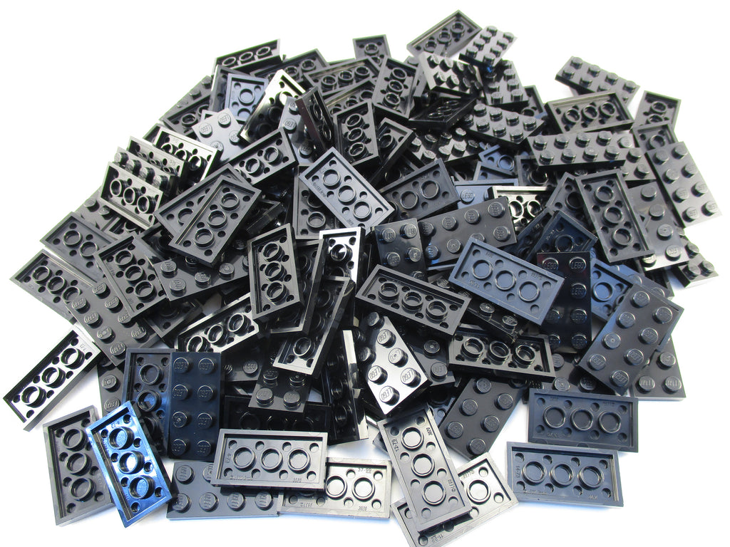 LEGO Black Plate 2x4 Lot of 100 Parts Pieces 3020
