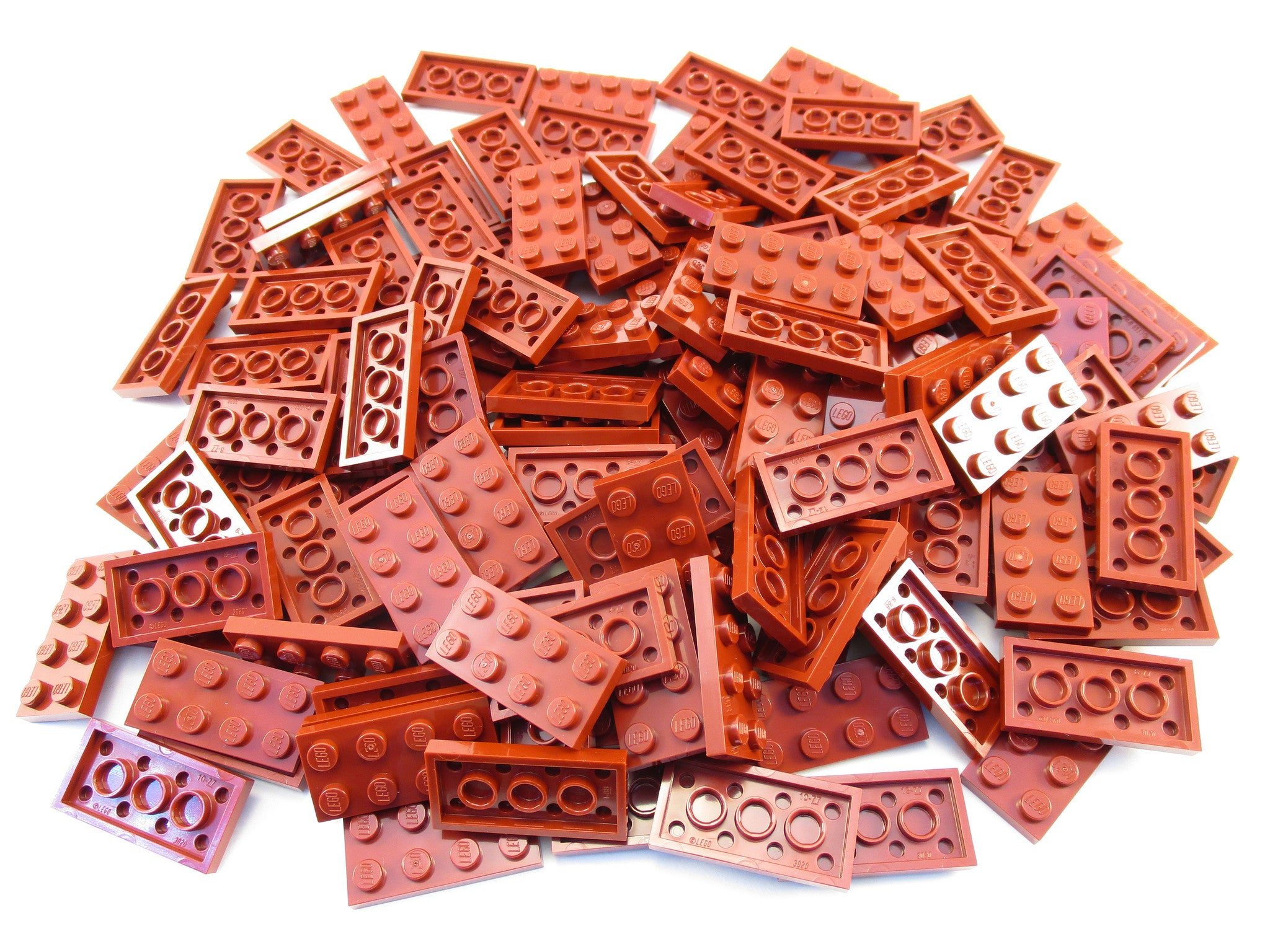 LEGO Dark Red Plate 2x4 Lot of 100 Parts Pieces 3020
