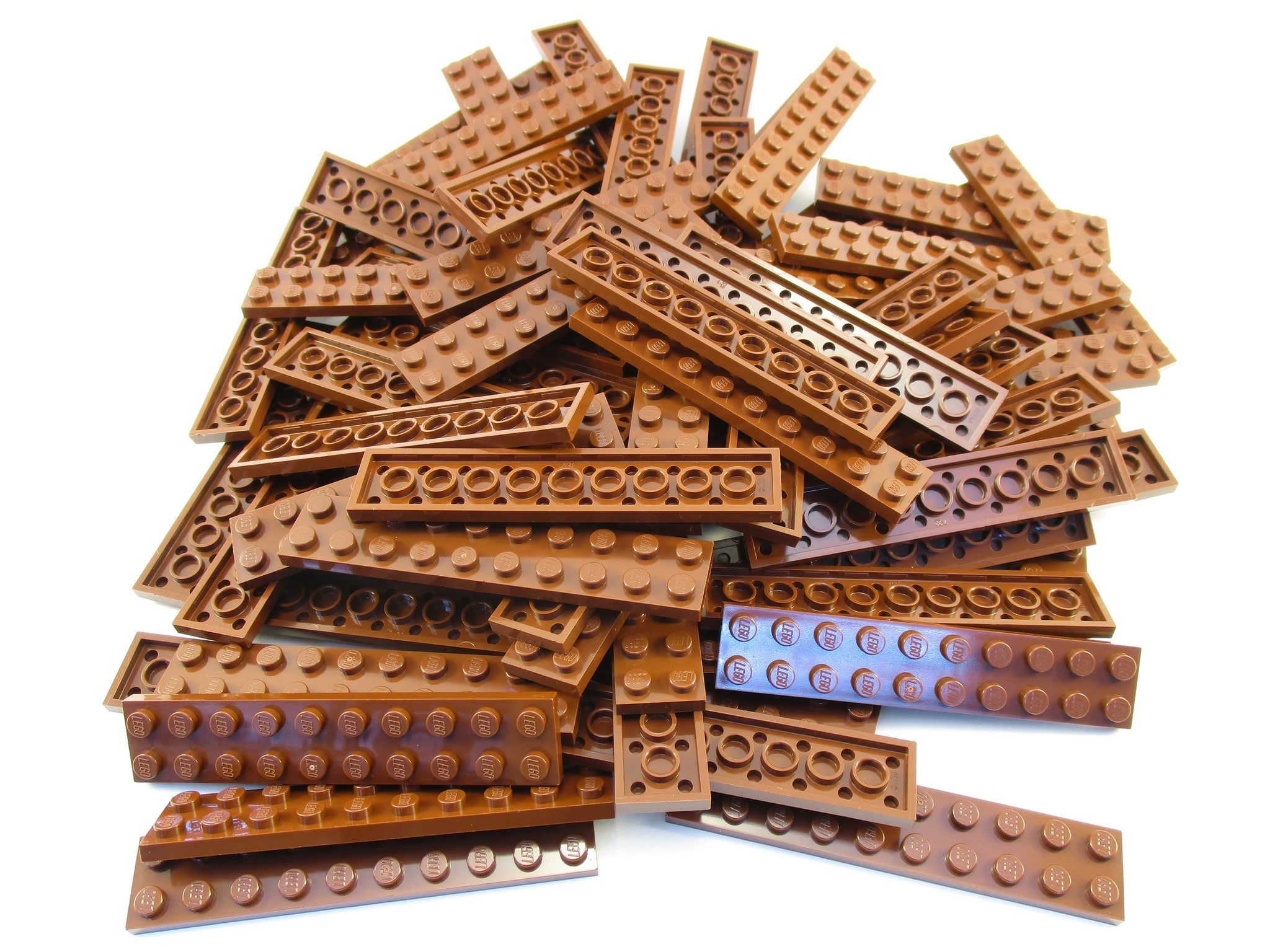 LEGO Reddish Brown Plate 2x10 Lot of 50 Parts Pieces 3832