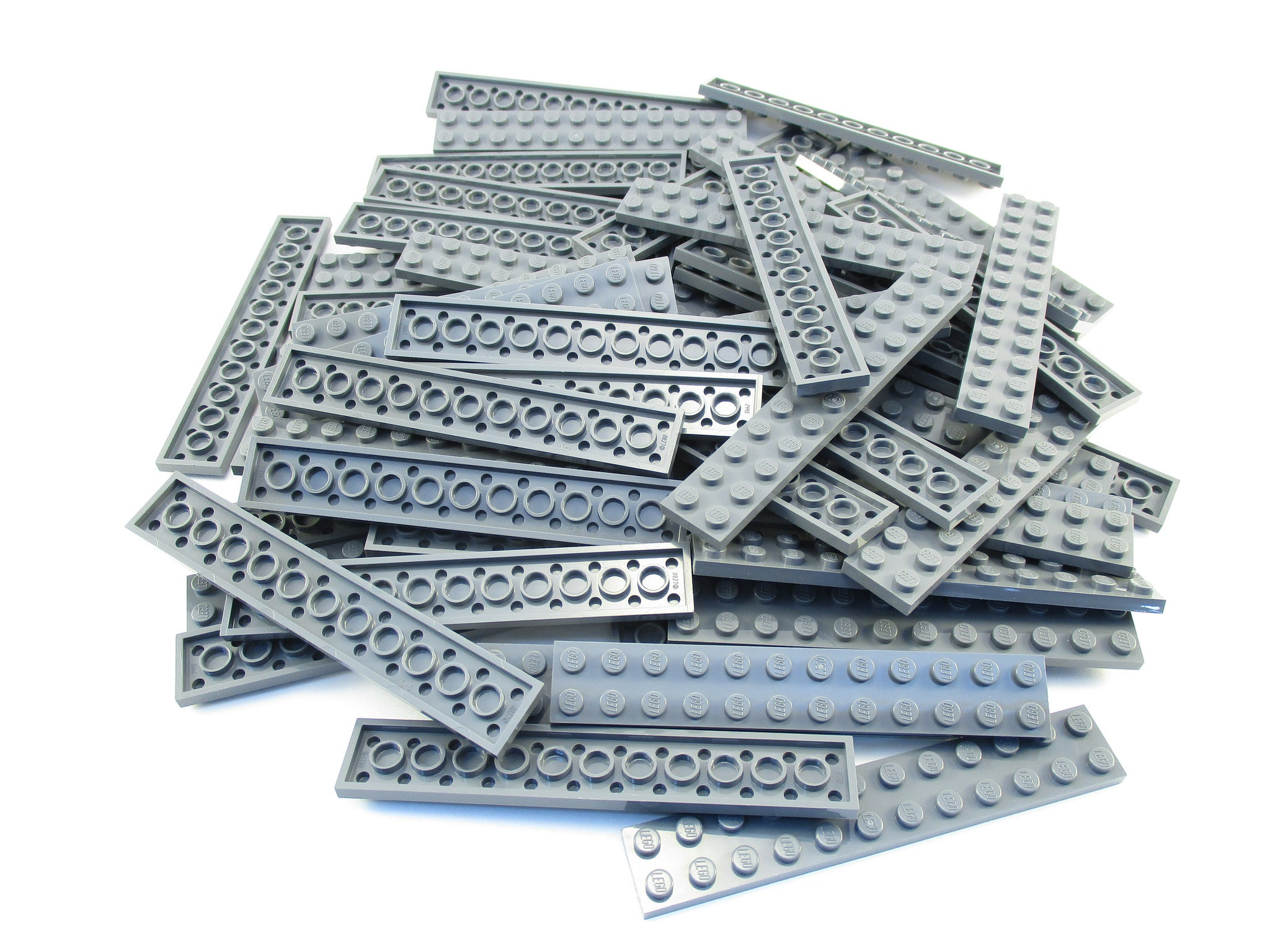 LEGO Dark Bluish Grey Plate 2x12 Lot of 50 Parts Pieces 2445 Gray