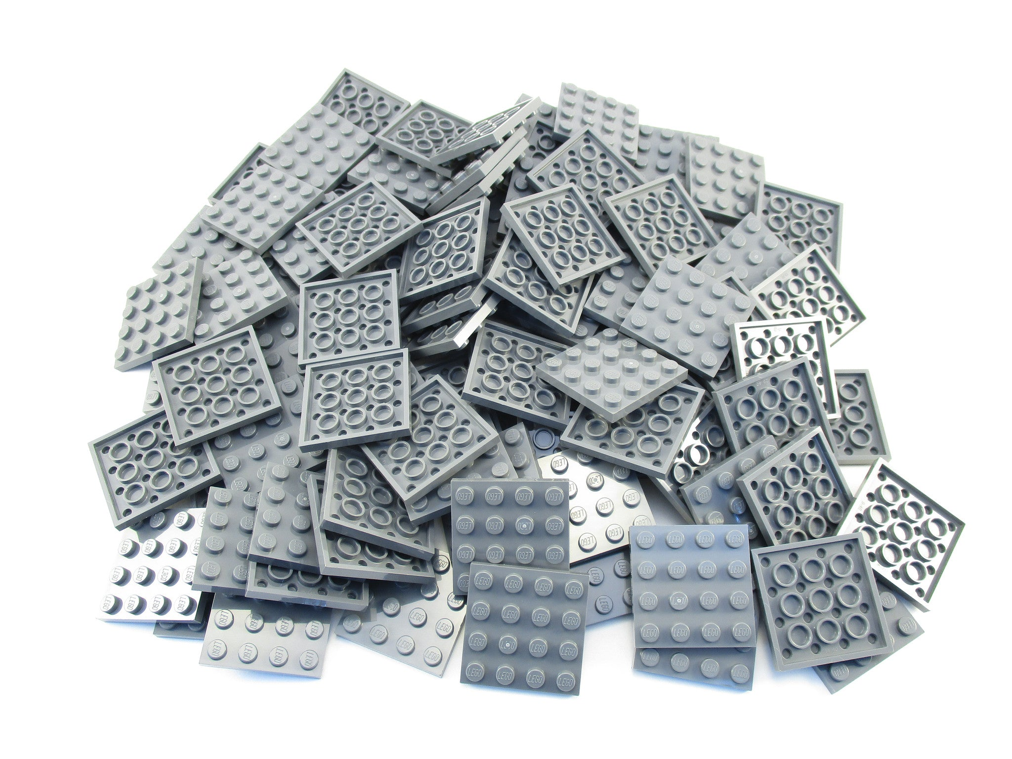 LEGO Dark Bluish Grey Plate 4x4 Lot of 100 Parts Pieces 3031 Gray