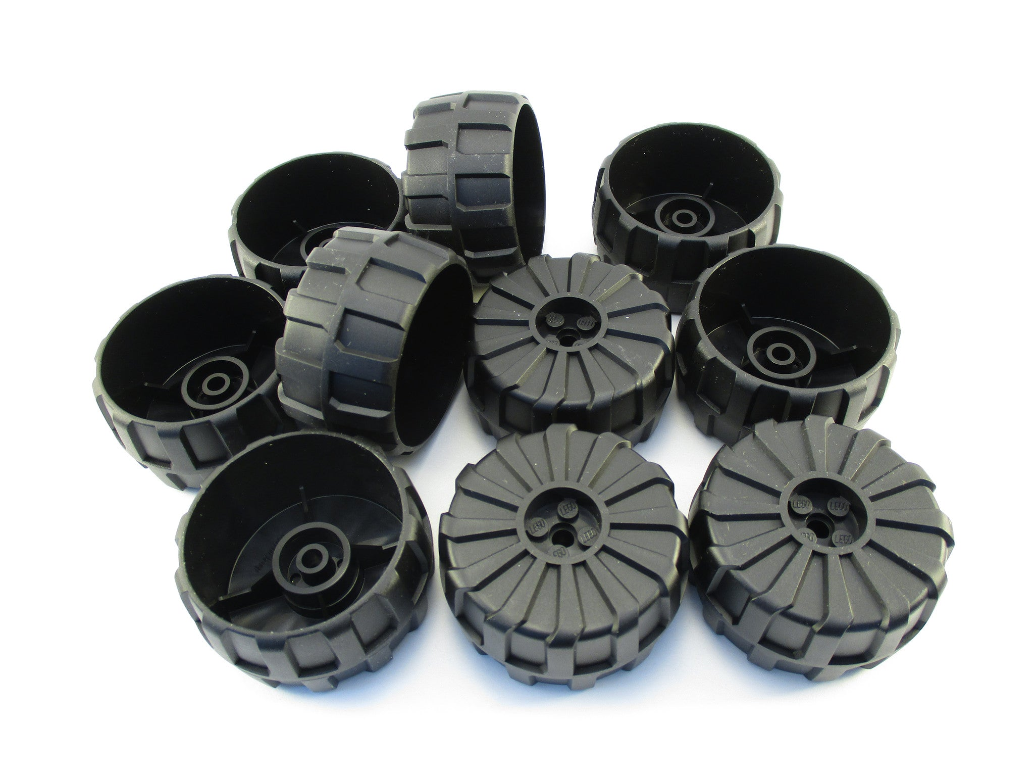 LEGO Black Wheel Hard Plastic Large 54mm D. x 30mm Lot of 10 Parts Pieces 2515