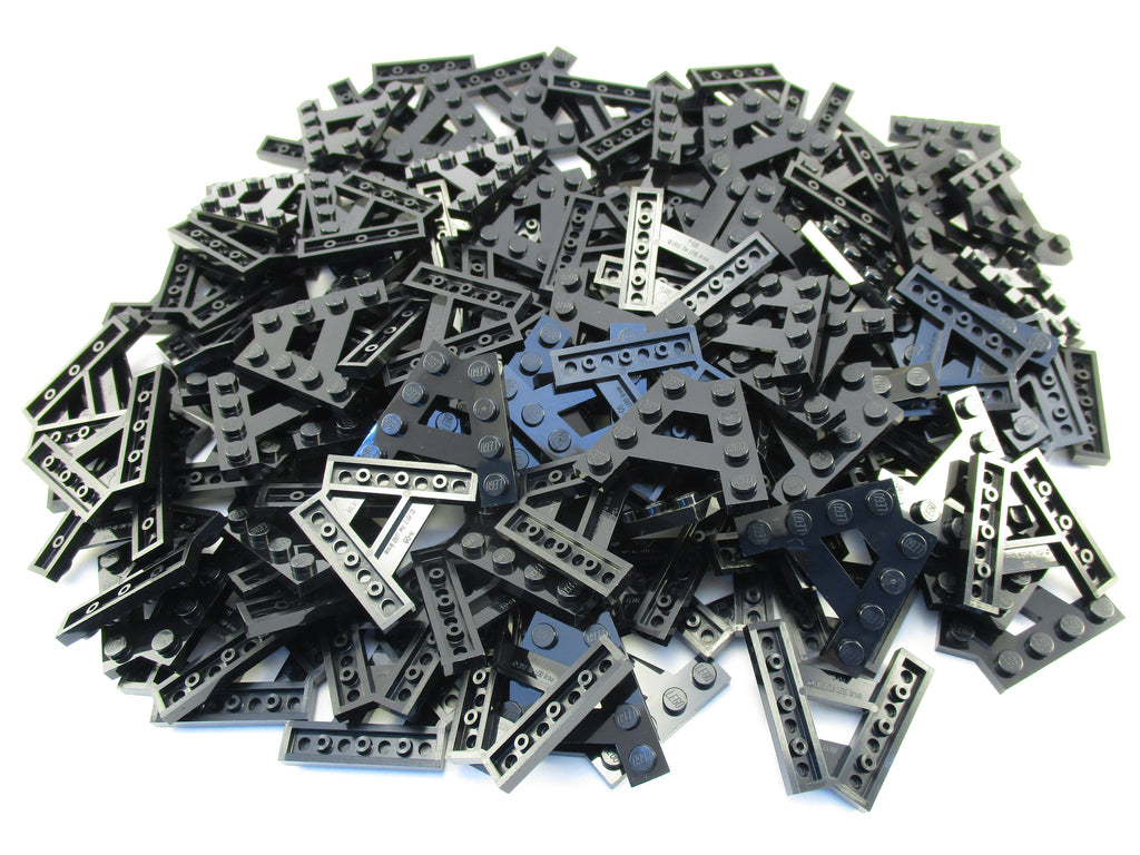 LEGO Black Wedge Plate A-Shape 2 Rows of 4 Studs Lot of 100 Parts Pieces 15706