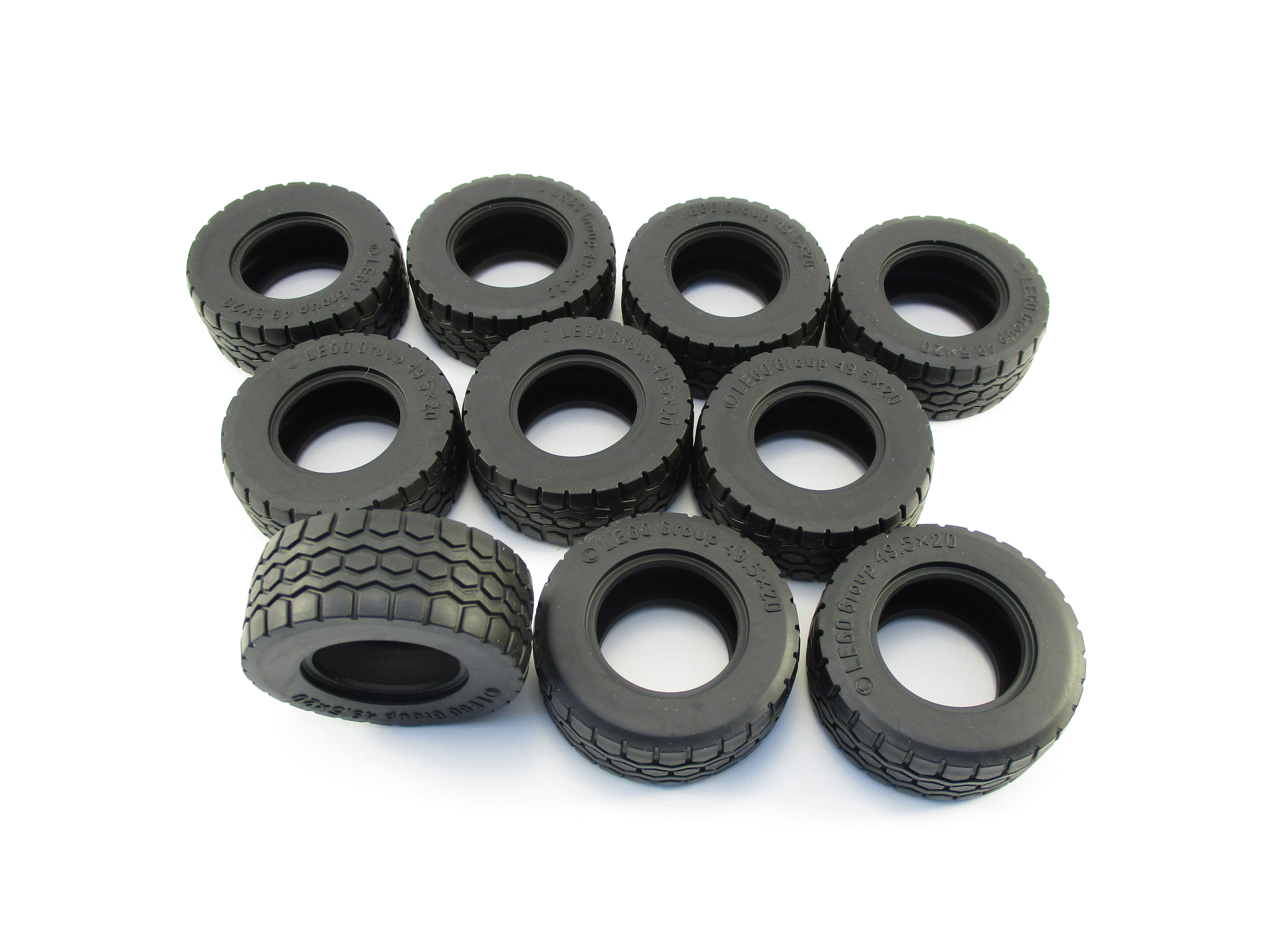 LEGO Black Tire 49.5x20 Lot of 10 Parts Pieces 15413