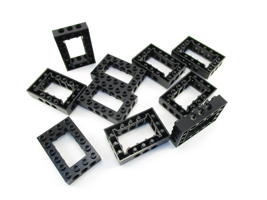 LEGO Black Technic Brick 4x6 Open Center Lot of 10 Parts Pieces 40344