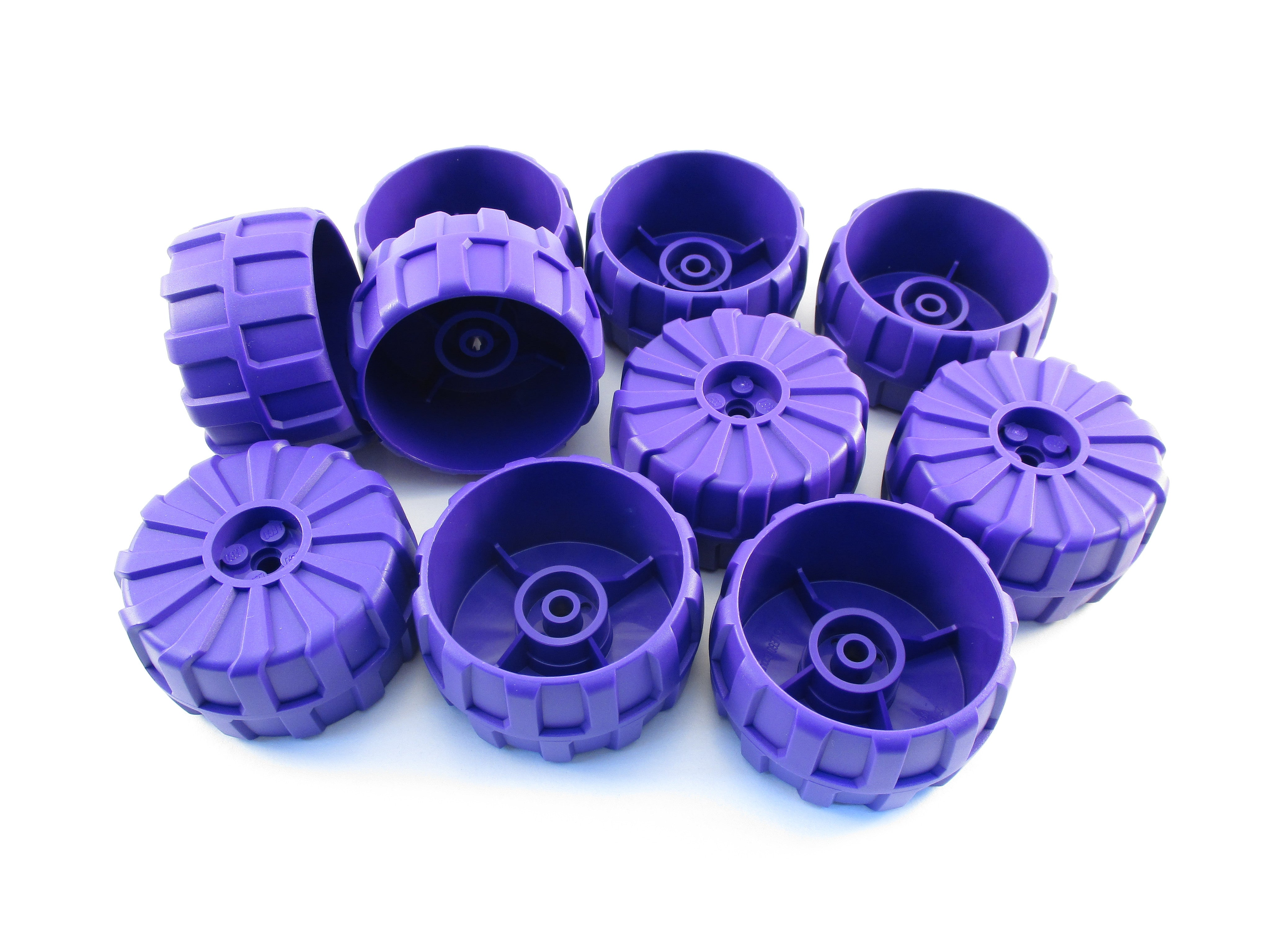 LEGO Dark Purple Wheel Hard Plastic Large 54mm D.x30 Lot of 10 Parts Pieces 2515