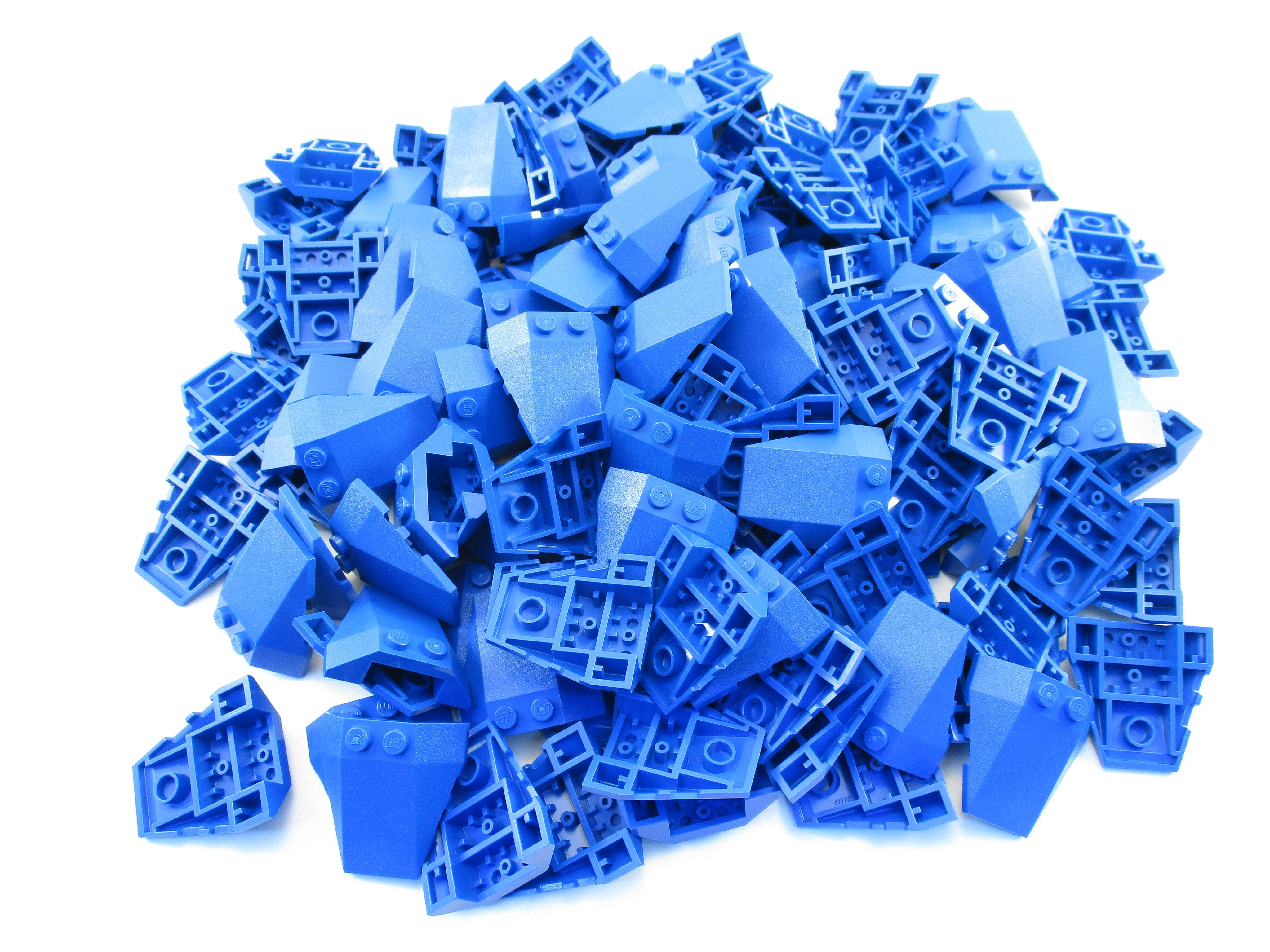 LEGO Blue Wedge 4x4 Triple with Stud Notches Lot of 100 Parts Pieces 48933