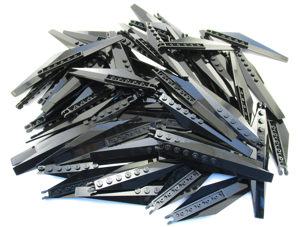 LEGO Black Hinge Plate 3x12 Angled Side Extensions Tapered Ends Lot of 100 Parts Pieces 57906