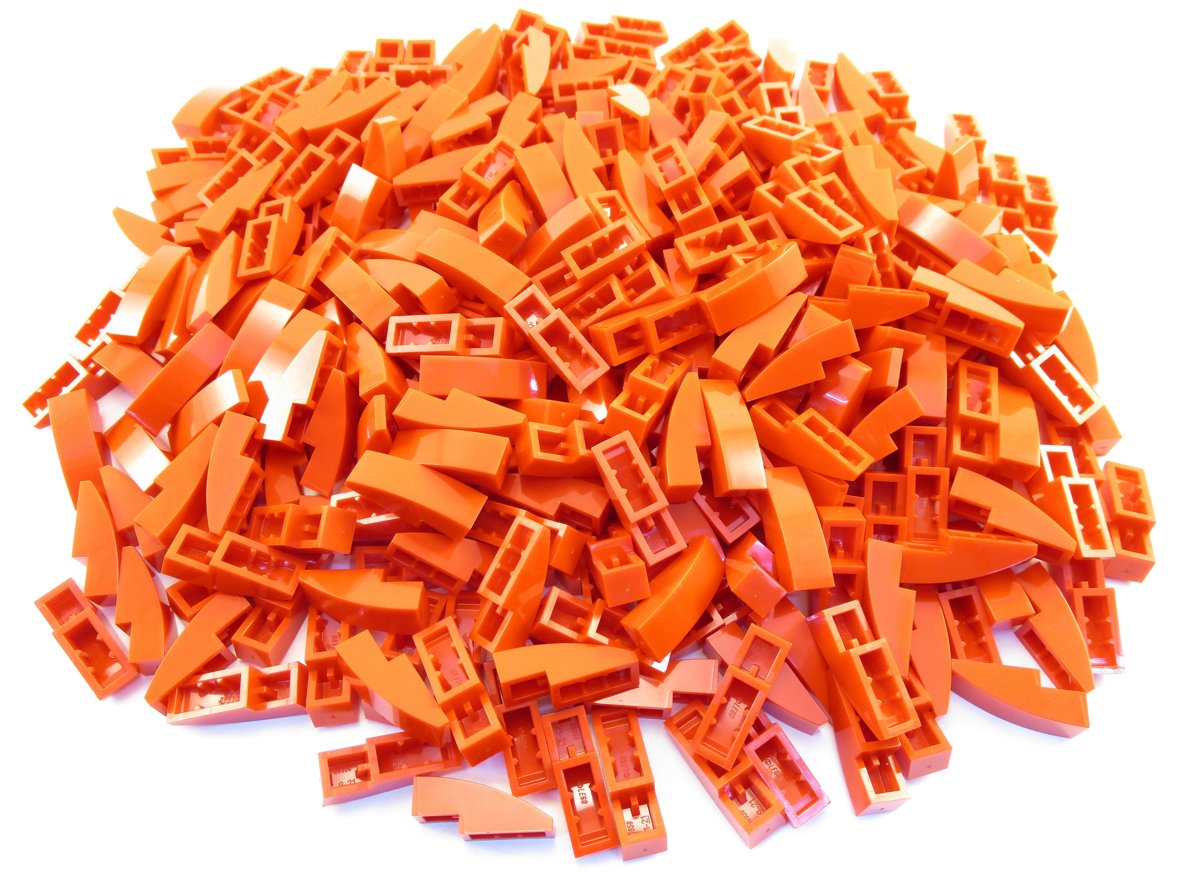 LEGO Red Slope Curved 3x1 No Studs Lot of 100 Parts Pieces 50950