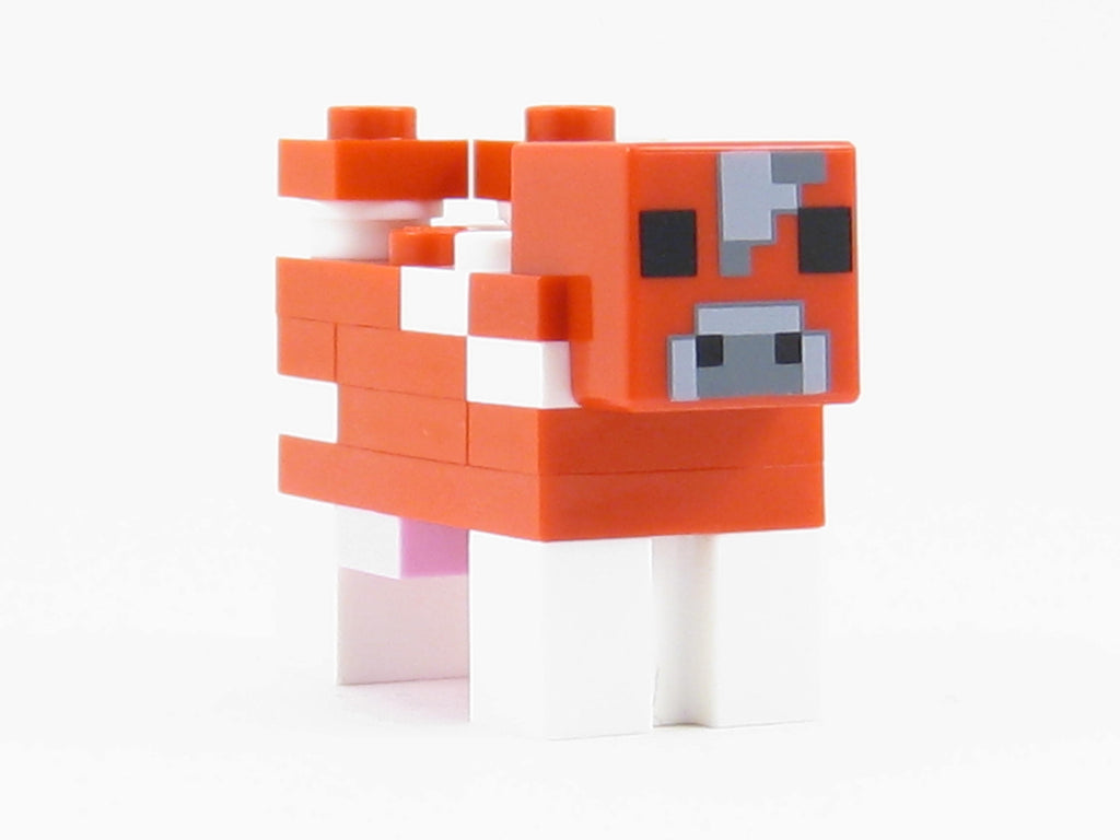 LEGO Minecraft Red White Cow Mooshroom Minifigure Farm Animal Mini Fig