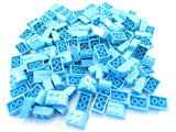 LEGO Medium Azure Brick Modified 2x3 with Curved Top Lot of 100 Parts Pieces 6215