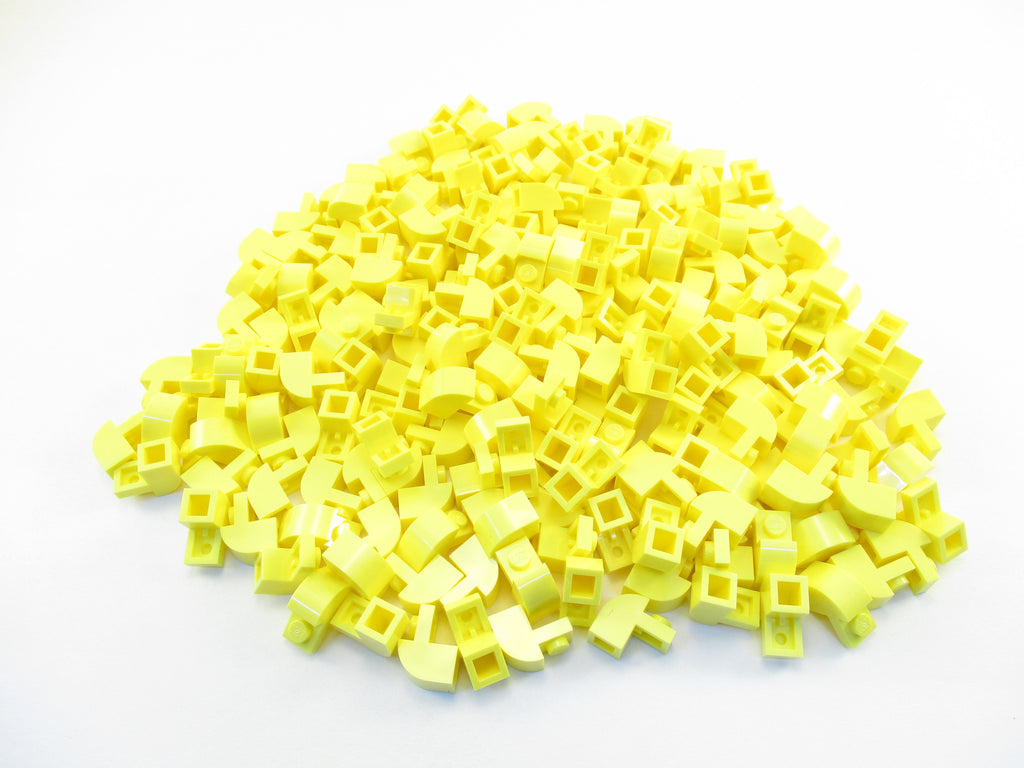LEGO Bright Light Yellow Brick Modified 1x2x1 1/3 Curved Top Lot of 100 Parts Pieces 6091