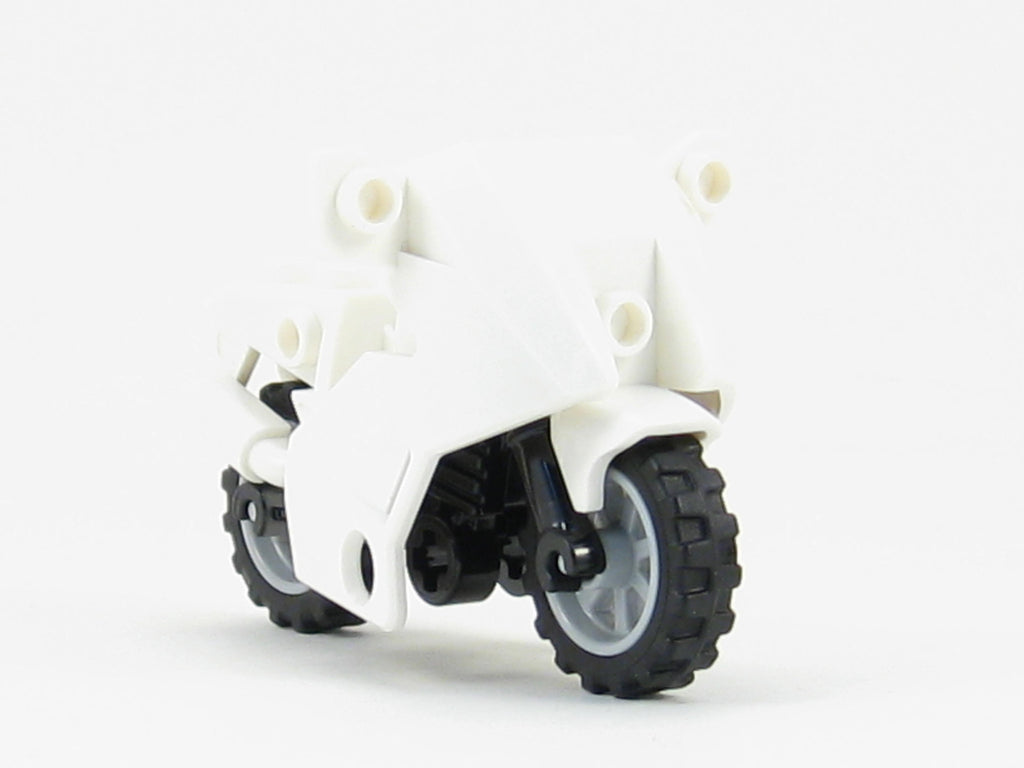 LEGO City Motorcycle White Fairing Police Cruiser Bike Black Frame