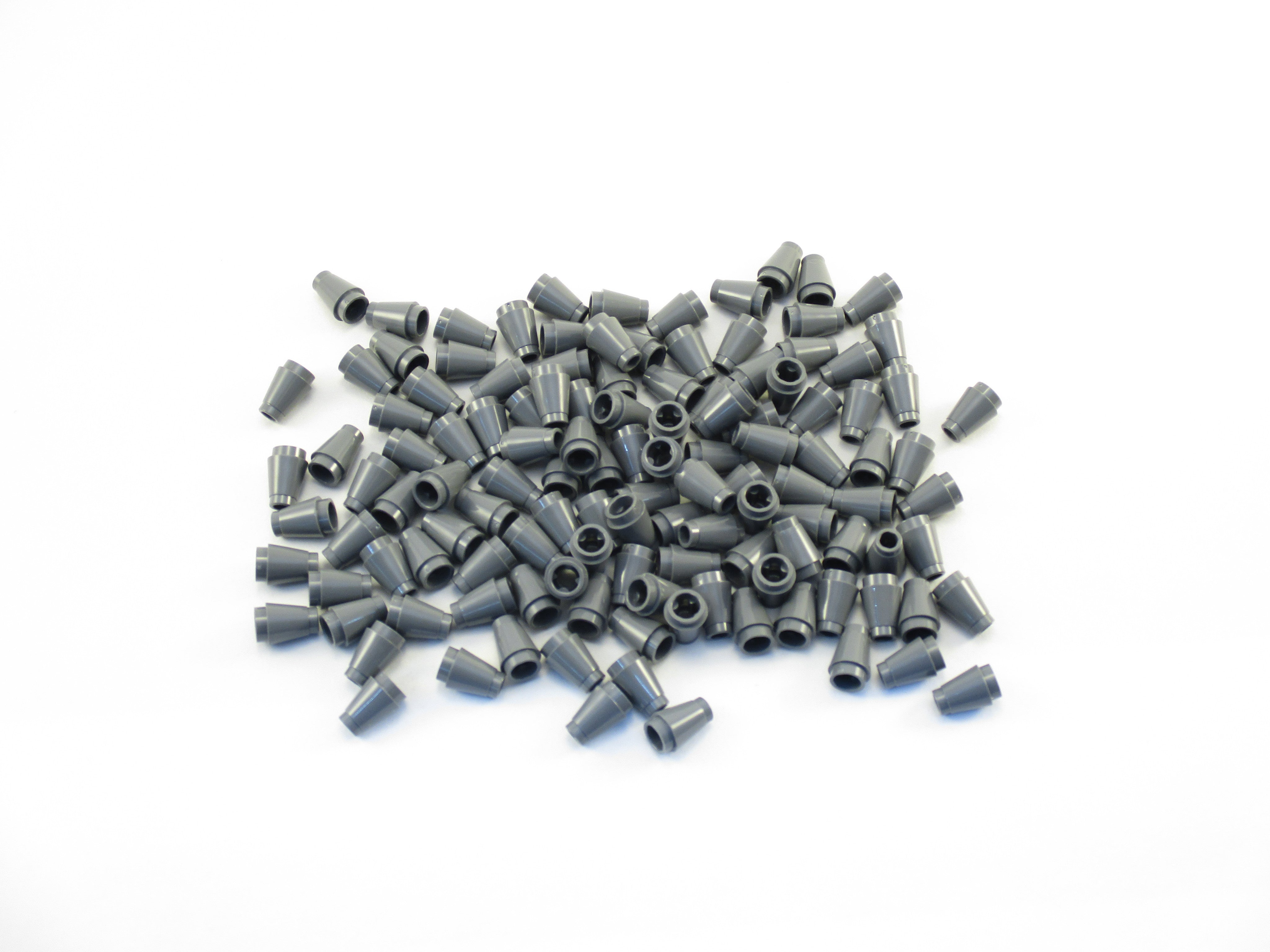 Lego 100 New Dark Bluish Gray Plates Modified 1 x 4 with 2 Studs without Groove