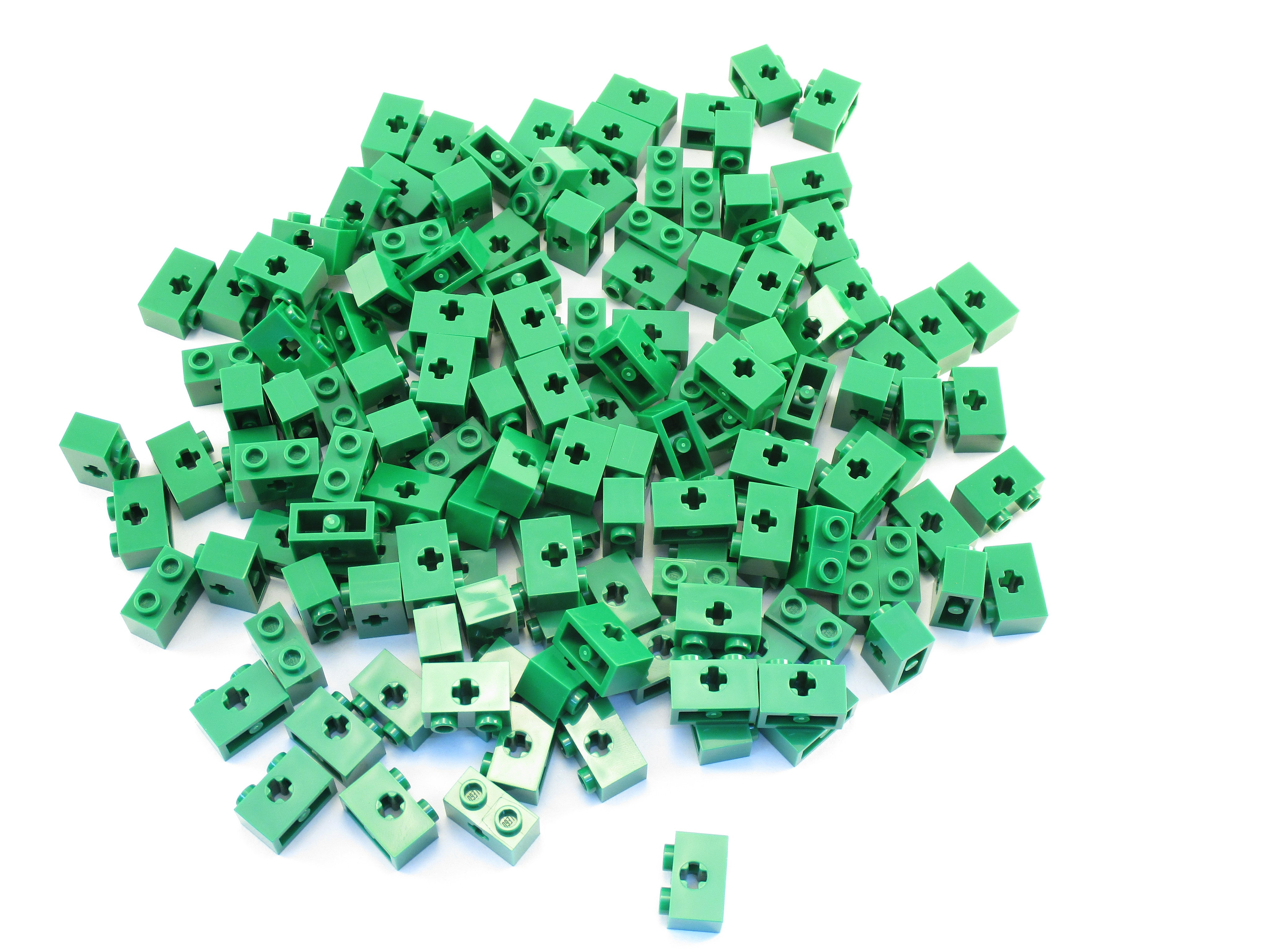 LEGO Green Technic Brick 1x2 with Axle Hole Lot of 100 Parts Pieces 32064