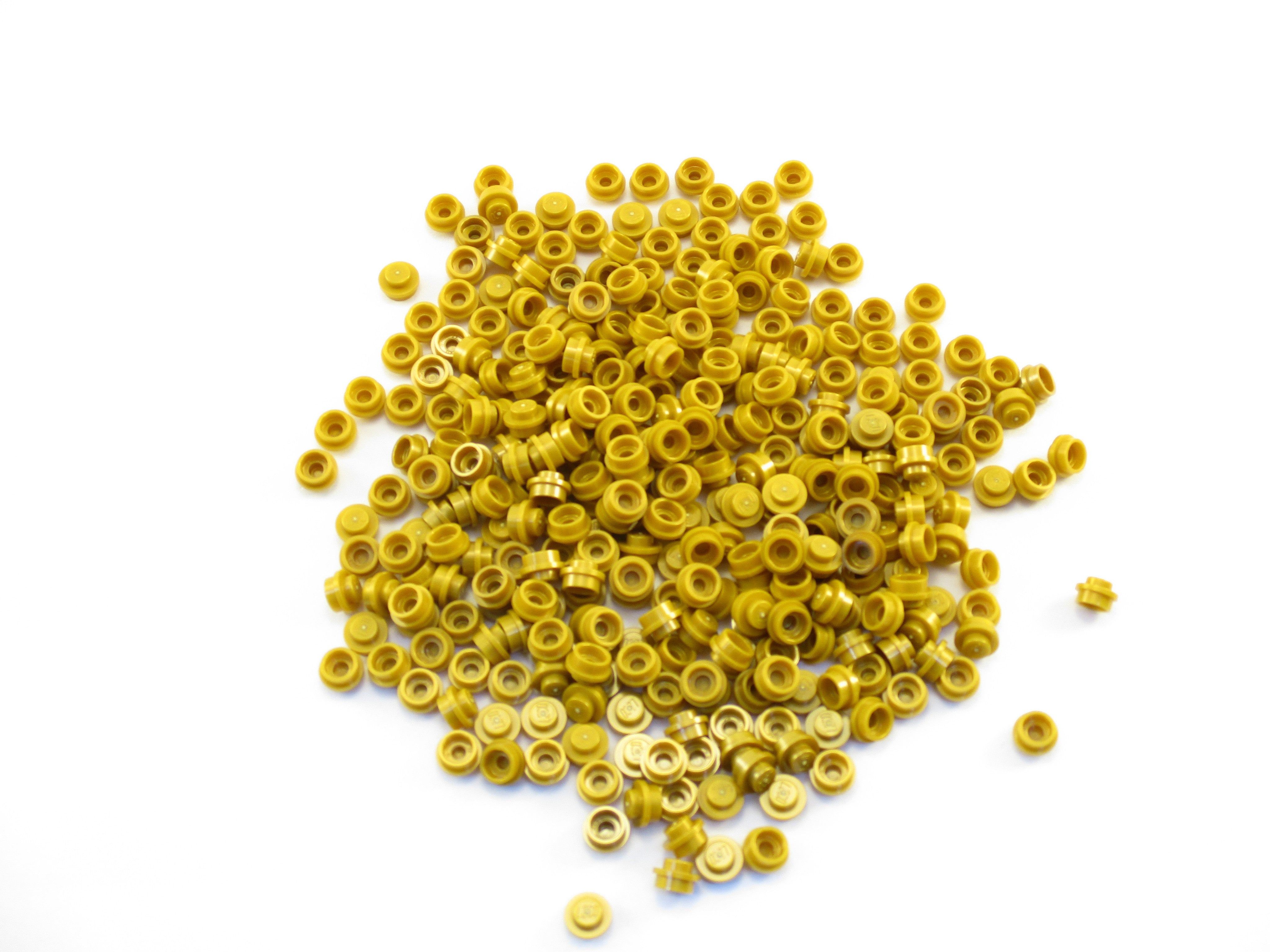 Lego 100 New Pearl Gold Plates Round 1 x 1 Straight Side Pieces