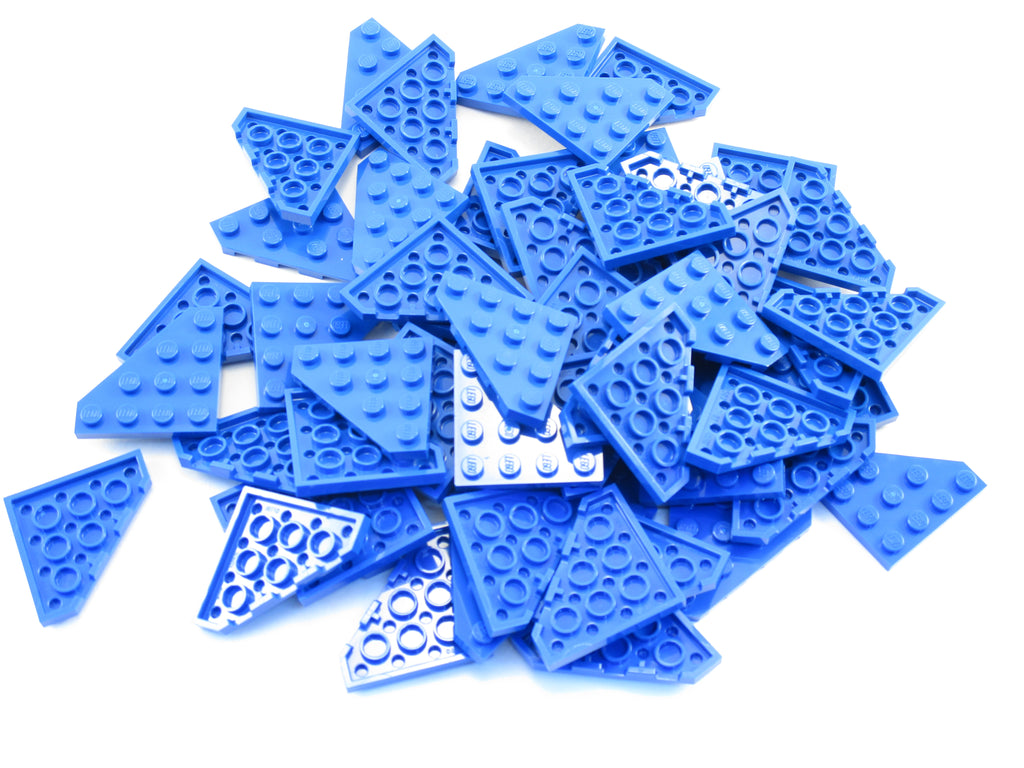 LEGO Blue Wedge Plate 4x4 Cut Corner Lot of 50 Parts Pieces 30503