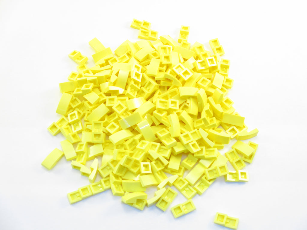 LEGO Bright Light Yellow Slope Curved 2x1 No Studs Lot of 100 Parts Pieces 11477