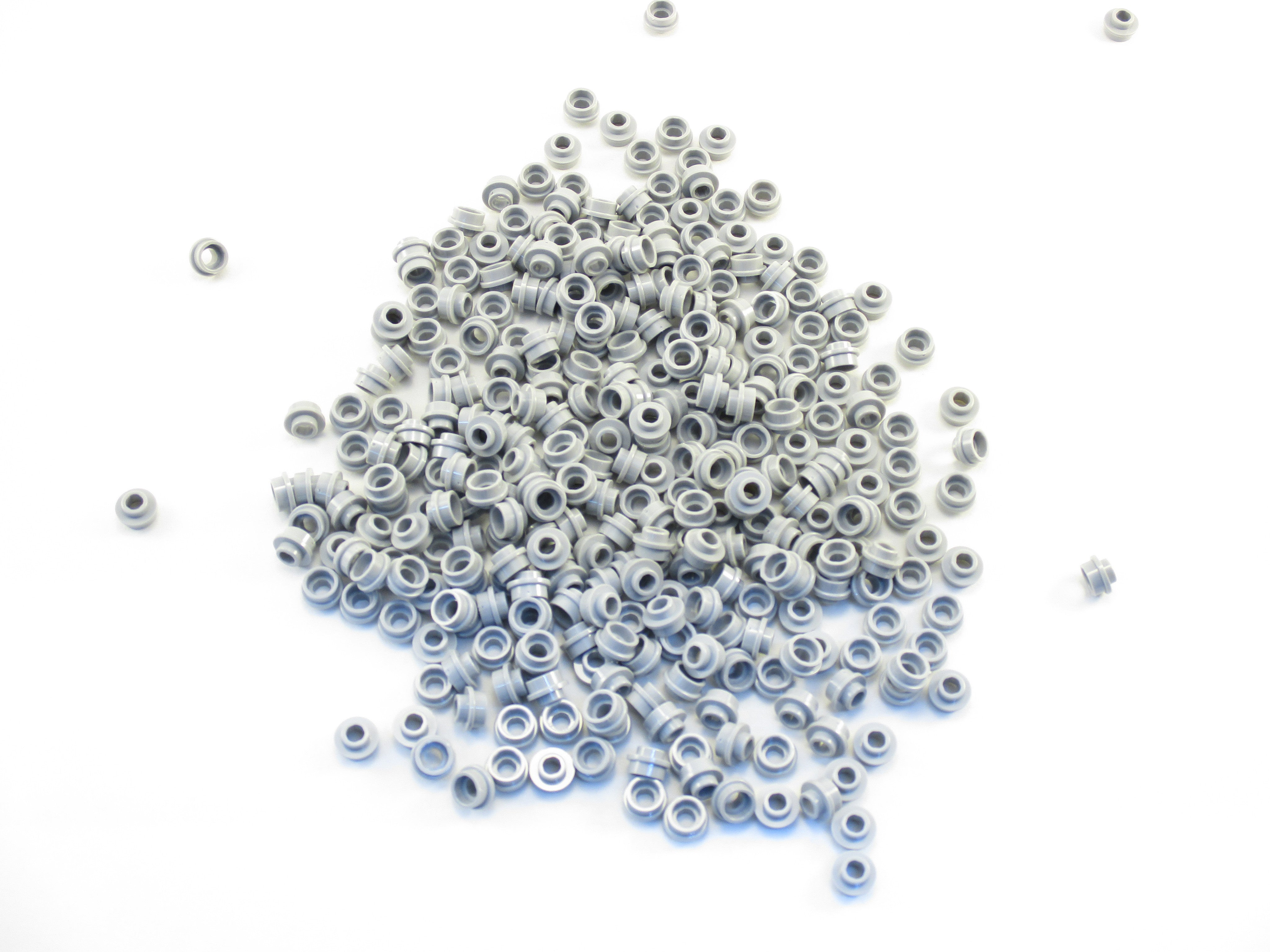LEGO Light Bluish Gray Plate Round 1x1 Open Stud Lot of 100 Parts Pieces 85861