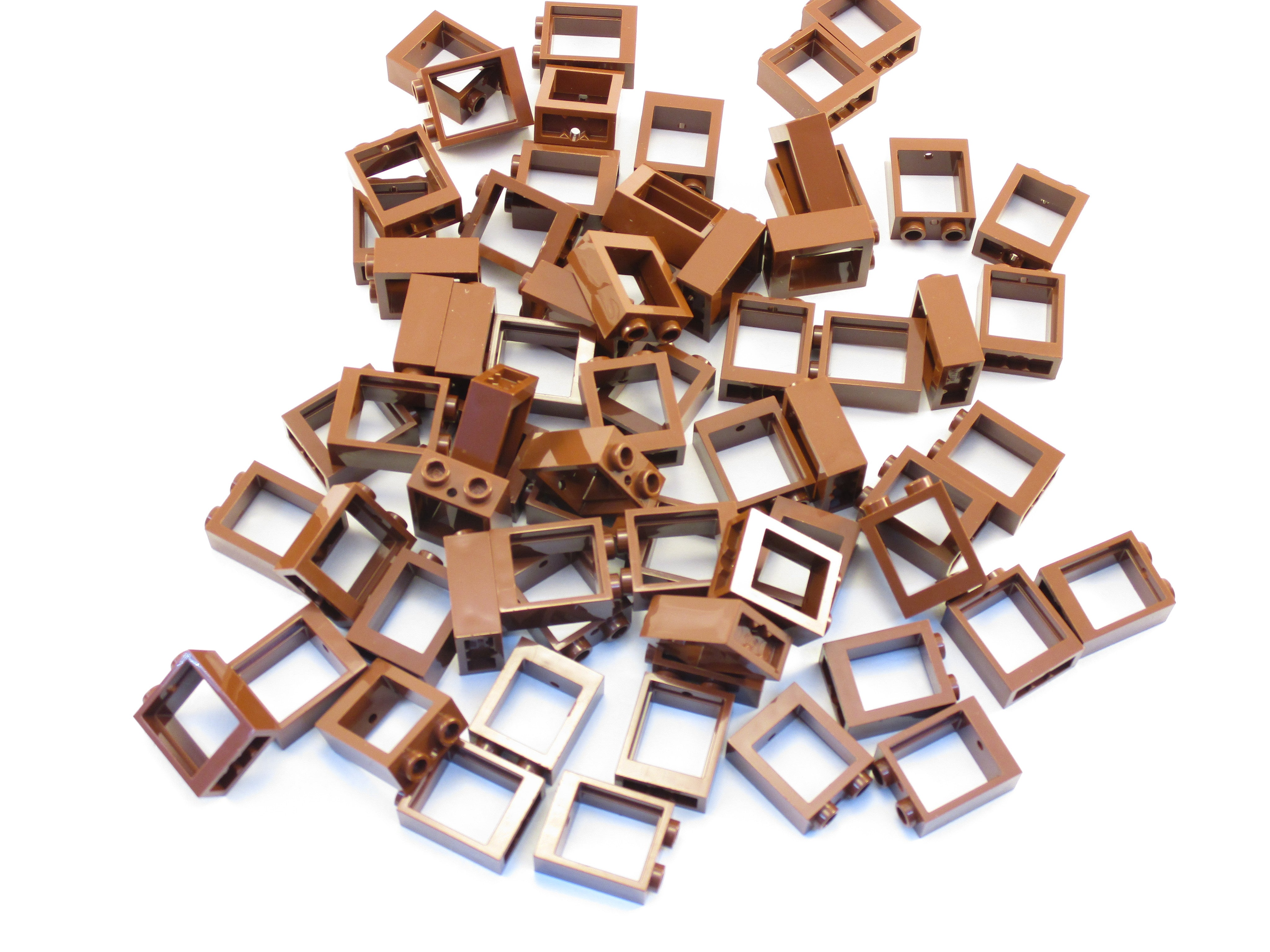 NEW Lego Lot of 10 Reddish Brown Window Frames 1x2x2 With Clear Window Panes