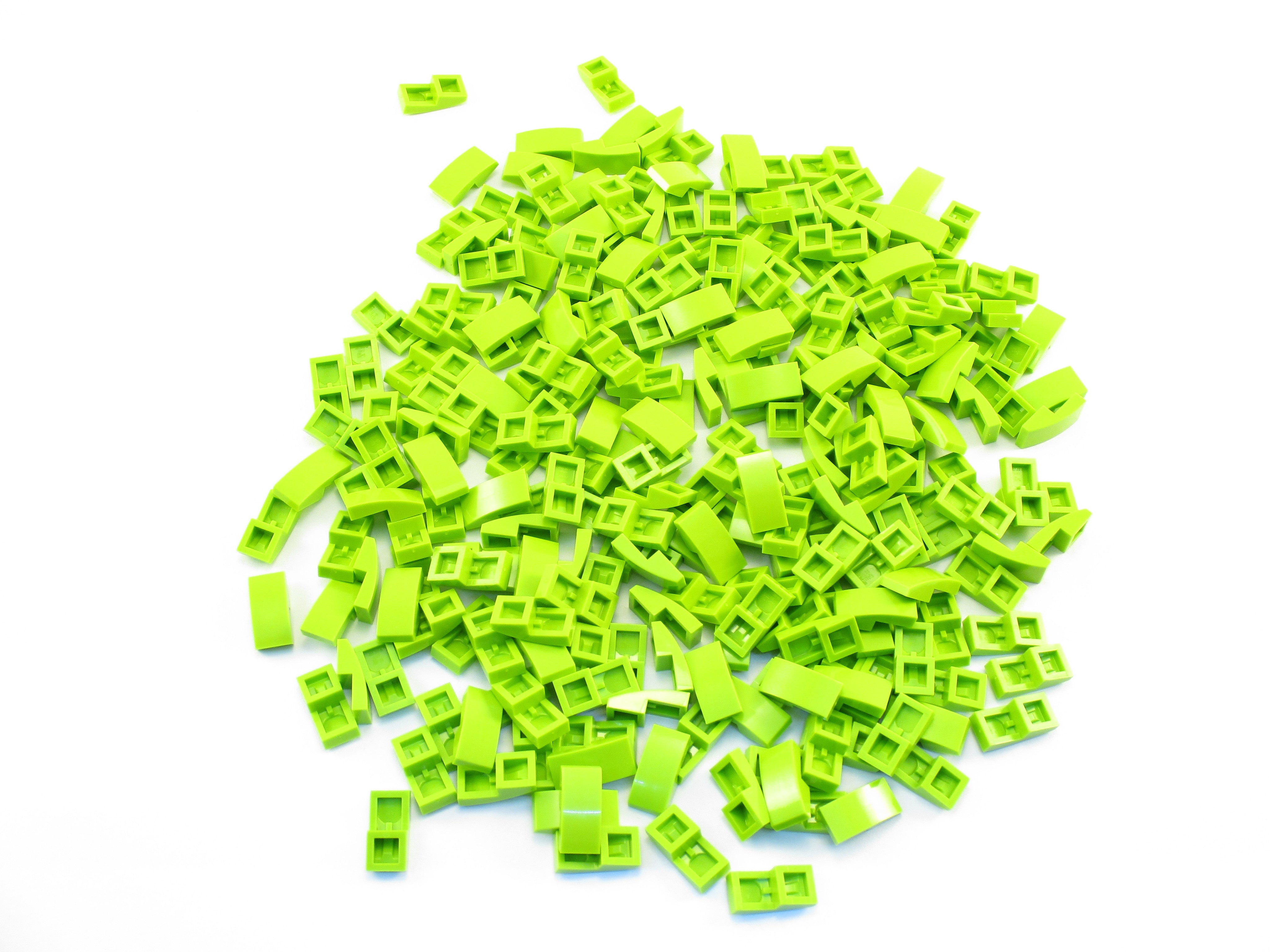 LEGO Lime Slope Curved 2x1 No Studs Lot of 100 Parts Pieces 11477