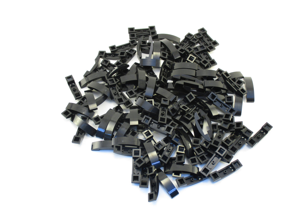 LEGO Black Slope Curved 4x1 Double No Studs Lot of 100 Parts Pieces 93273