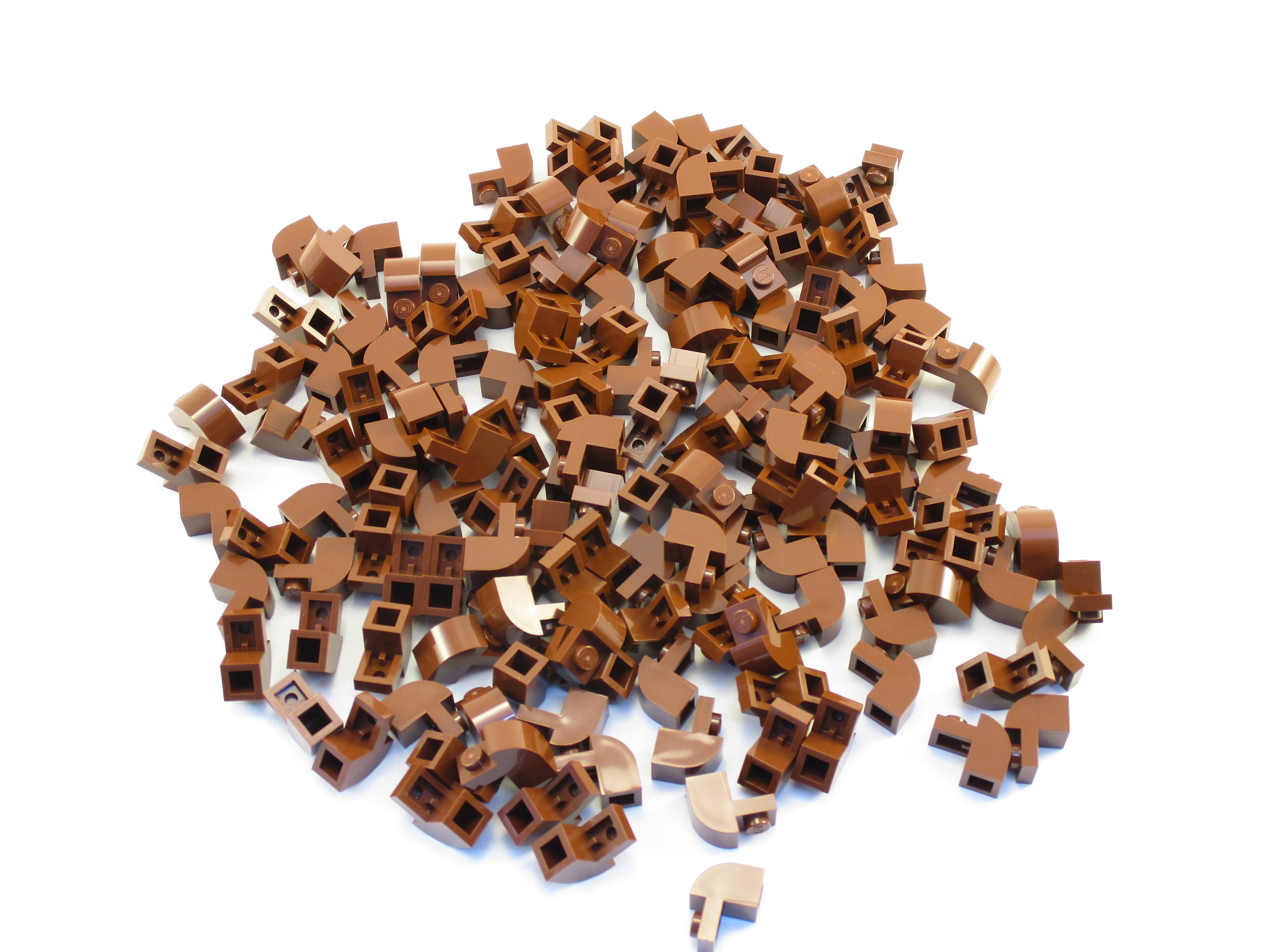 LEGO Reddish Brown Brick Modified 1x2x1 1/3 Curved Top Lot of 50 Parts Pieces 6091
