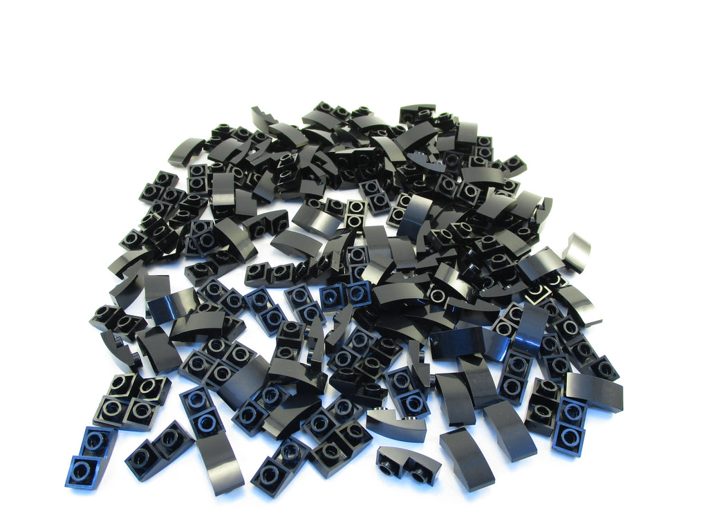 LEGO Black Slope Curved 2x1 Inverted Lot of 50 Parts Pieces 24201