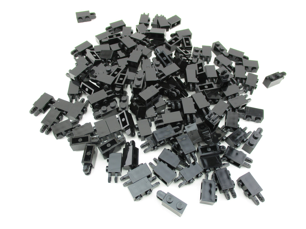 LEGO Black Hinge Brick 1x2 Locking 2 Fingers Horizontal End Lot of 100 Parts Pieces 30540