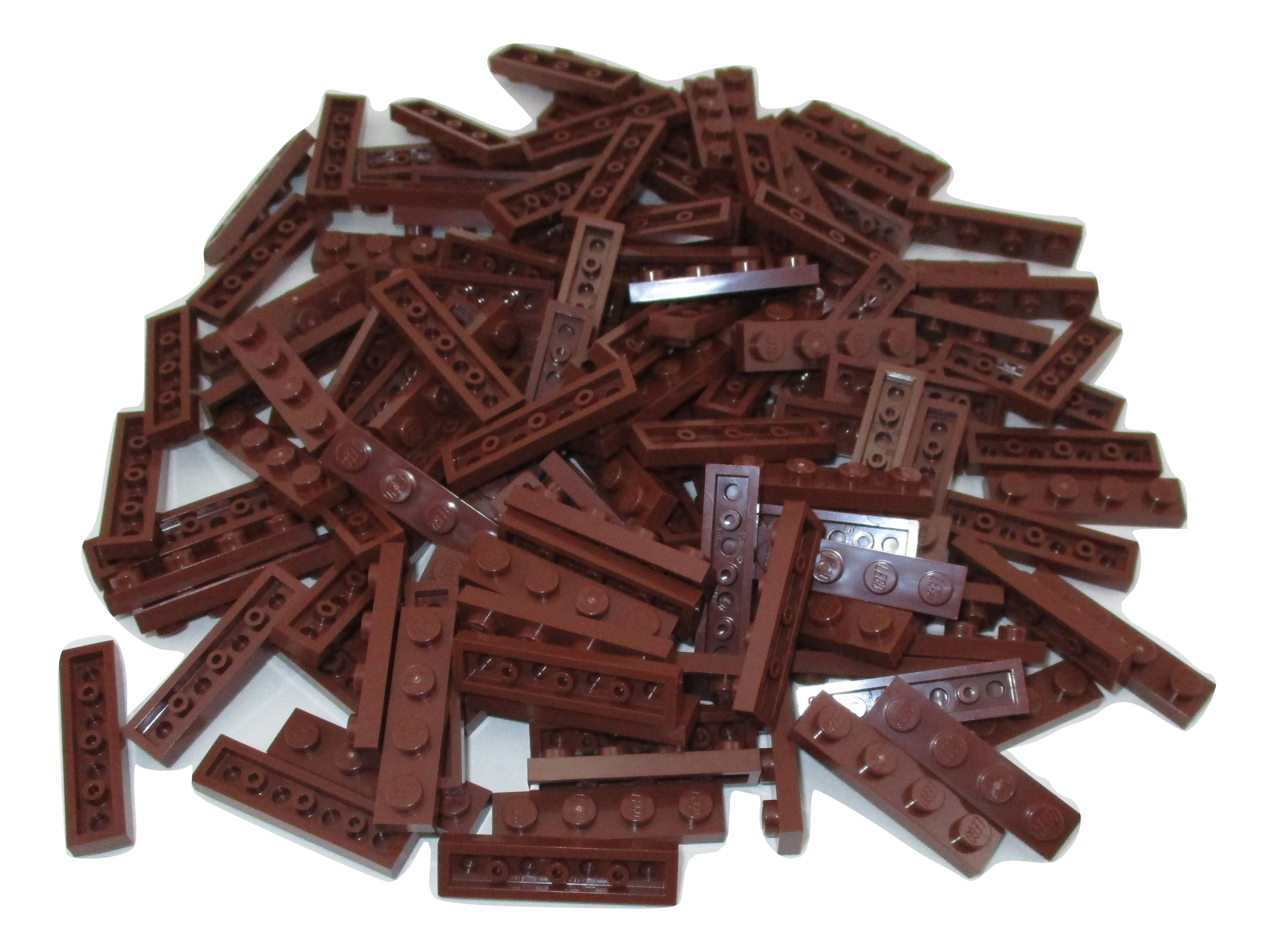 LEGO Reddish Brown Plate 1x4 Lot of 100 Parts Pieces 3710