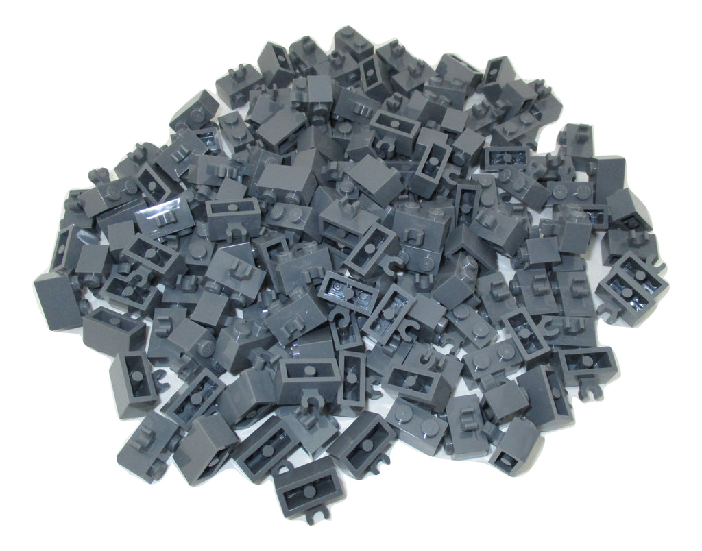 LEGO Dark Bluish Gray Tile Modified 1x2 with Handle Lot of 100 Parts Pieces 2432