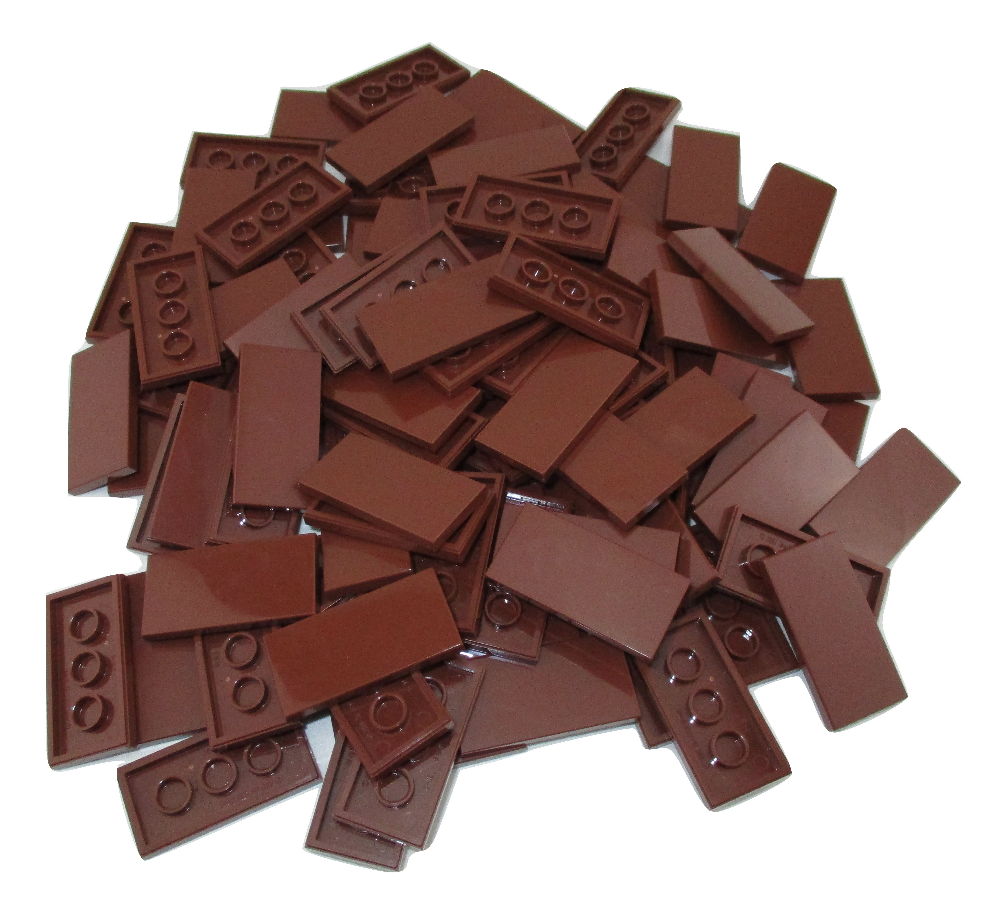 LEGO Reddish Brown Tile 2x4 Lot of 100 Parts Pieces 87079