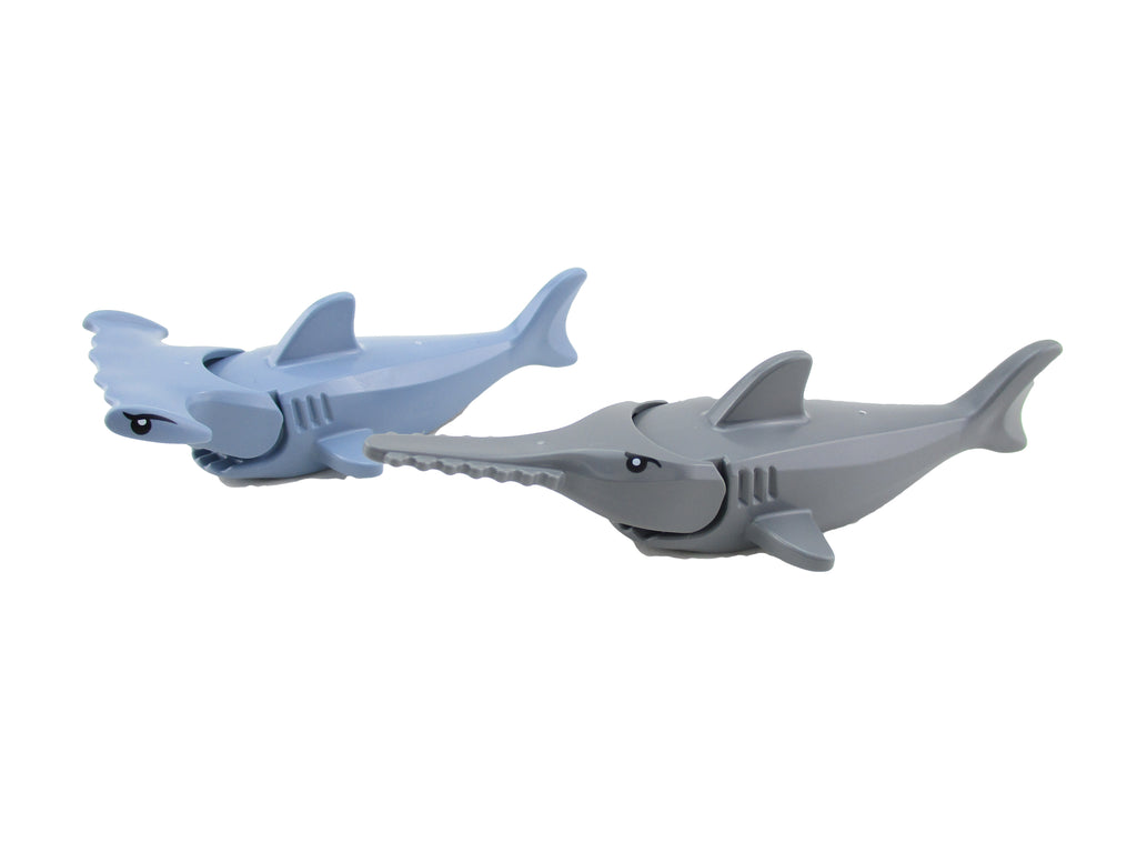 LEGO Lot of 2 Hammerhead Shark Swordfish Minifigure Mini Fig Sea Fish Animal