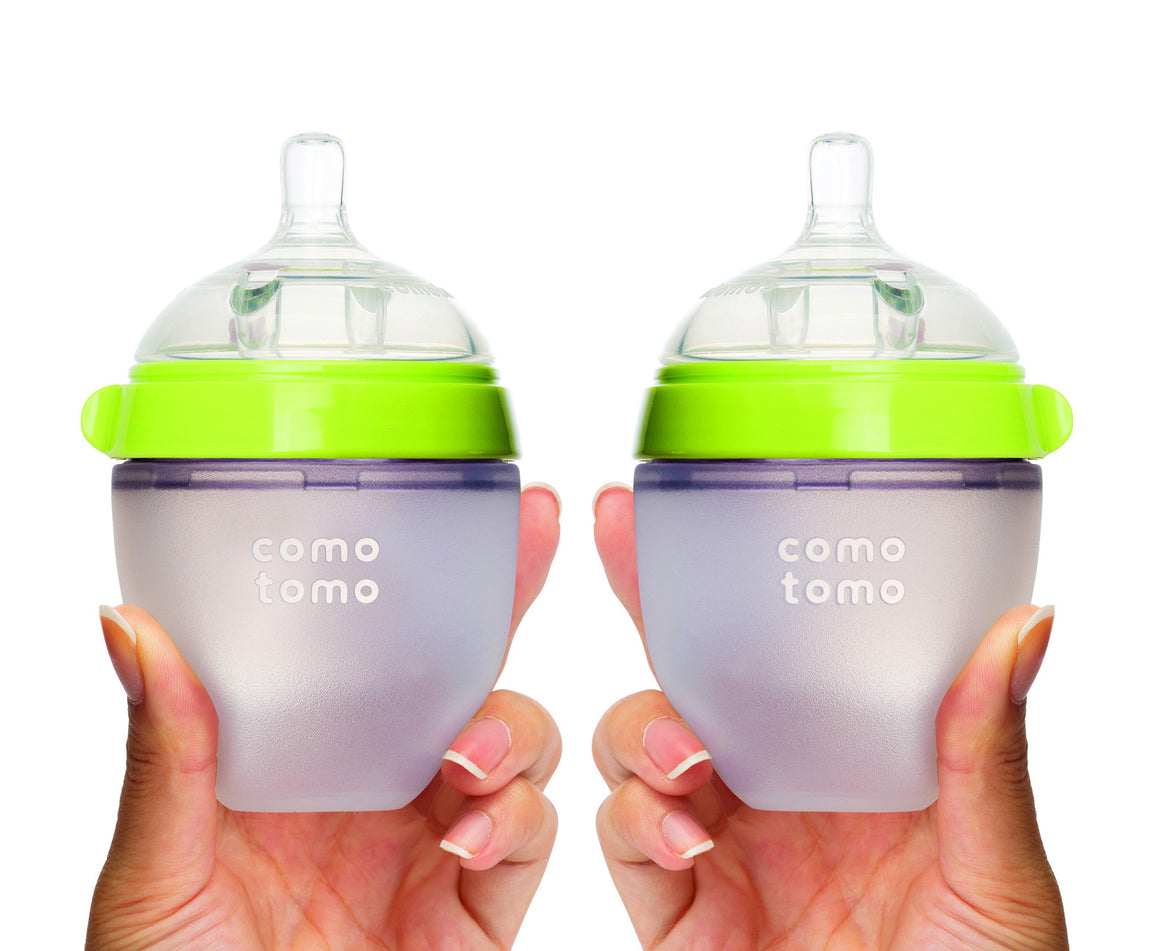COMOTOMO  Baby Bottle, Green, 5 Ounce, Double Pack