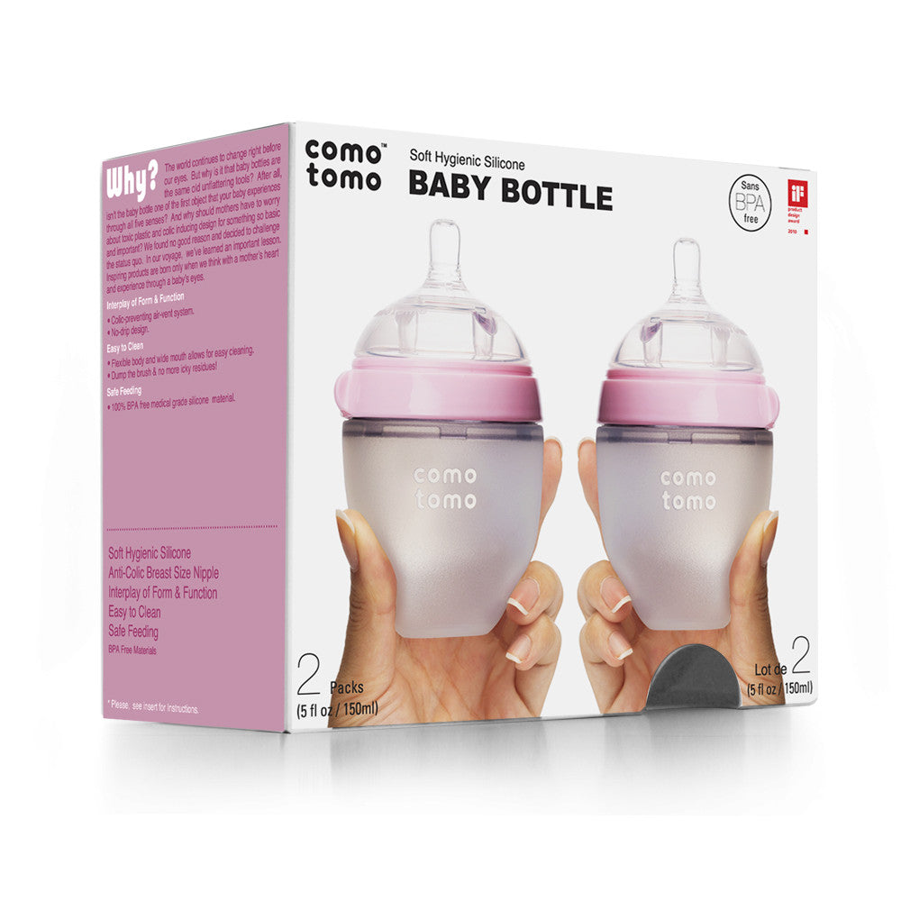 COMOTOMO  Baby Bottle, Pink, 5 Ounce, Double Pack - YYZ Distribution