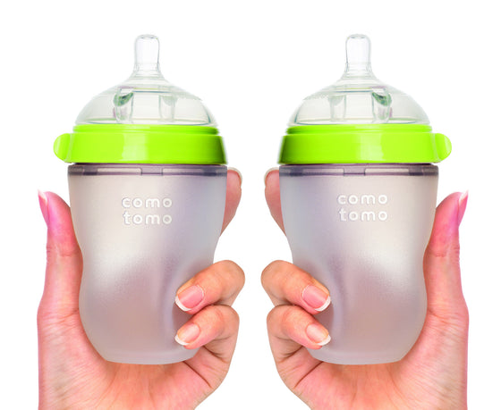 COMOTOMO  Baby Bottle, Green, 8 Ounce, Double Pack